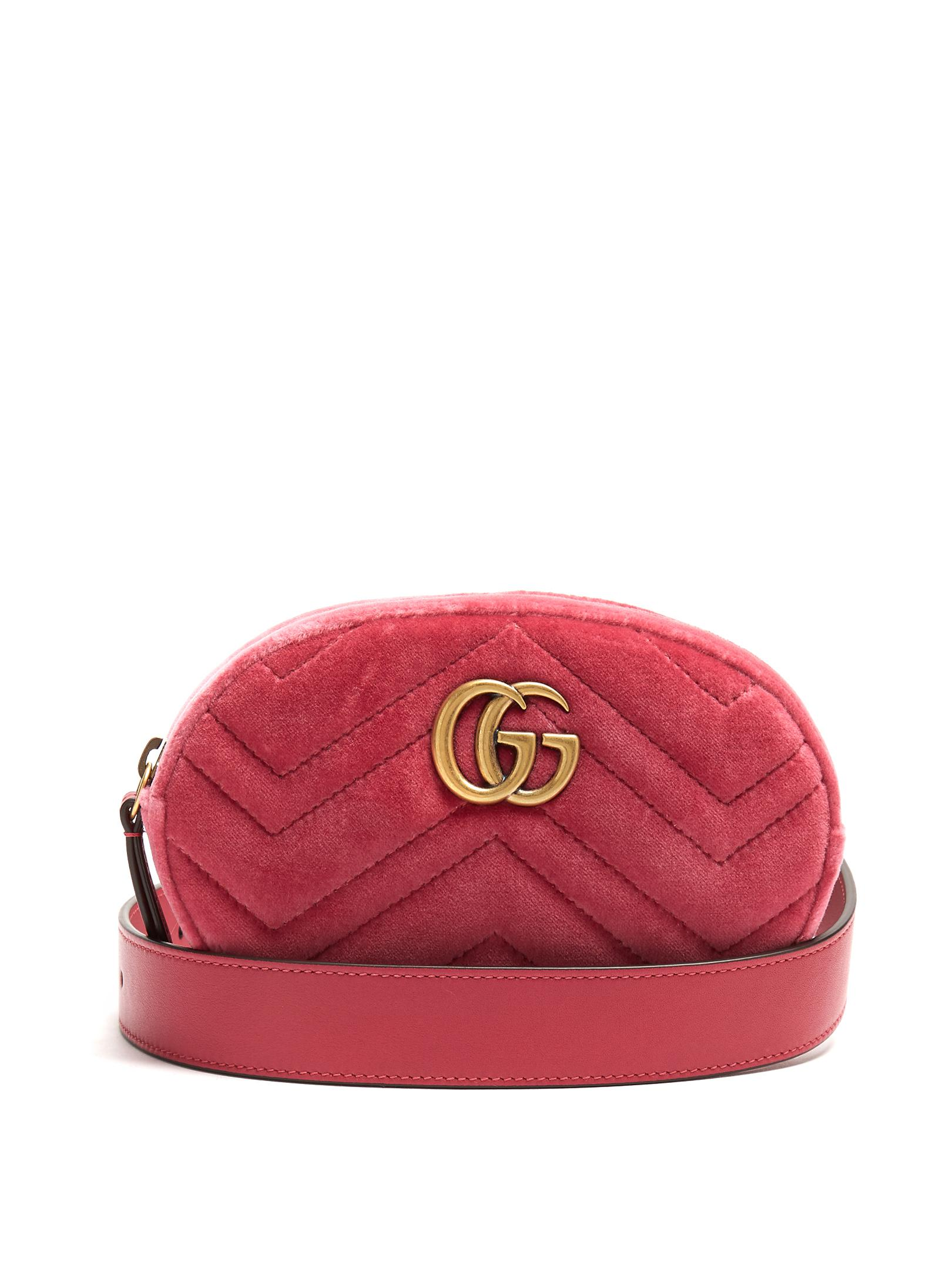 a9871c759e7 Lyst Gucci Gg Marmont Quilted Velvet Belt Bag In Pink