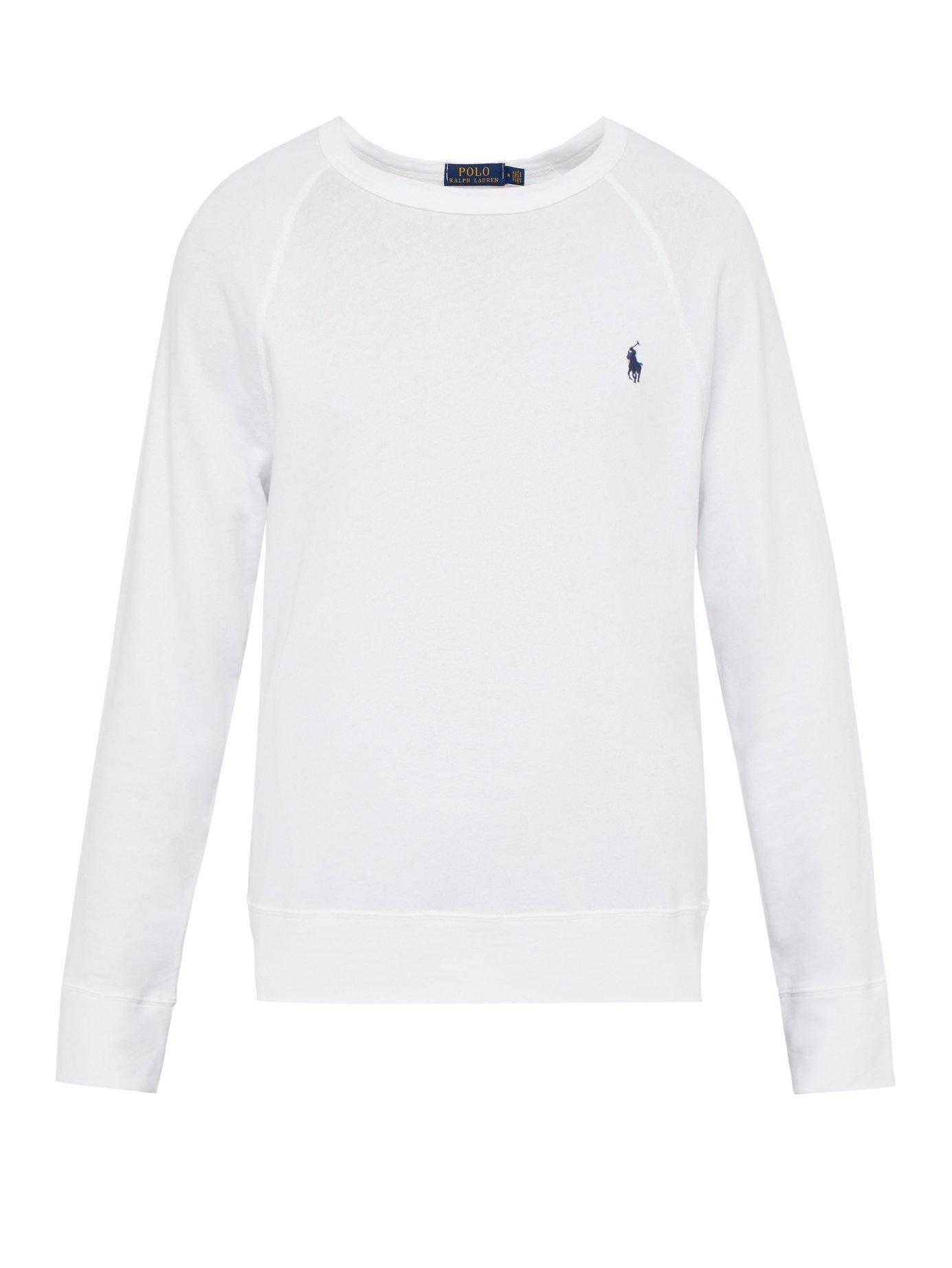 c7cebfc7edb9 Polo Ralph Lauren. Men s White Logo Embroidered Cotton Jersey Sweatshirt
