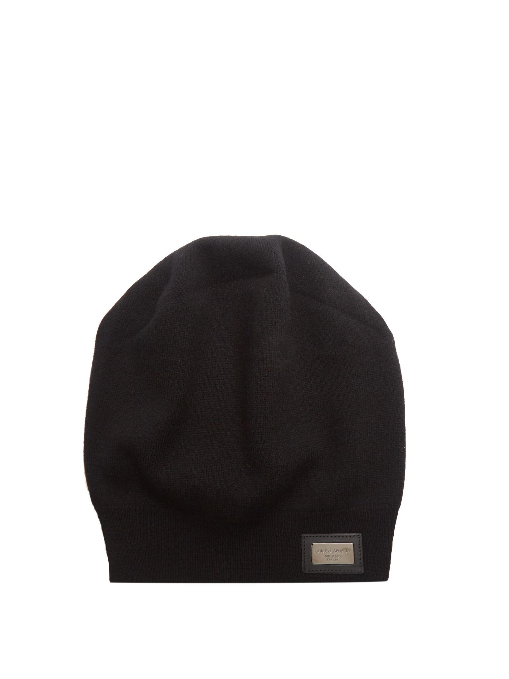 cb14933a54d Dolce   Gabbana Logo-patch Cashmere Beanie Hat in Black for Men - Lyst
