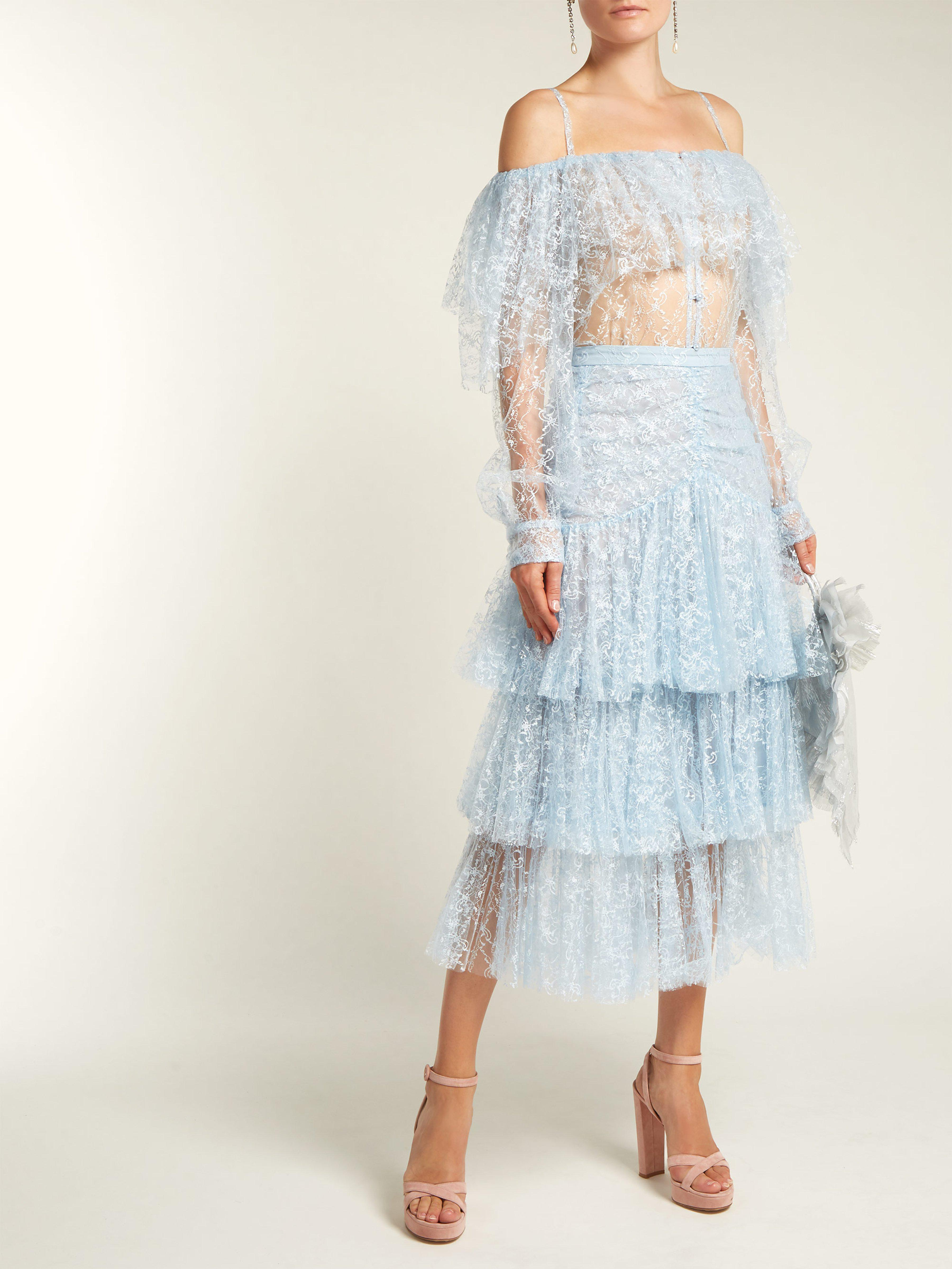 cbc67744387ba Rodarte Off The Shoulder Lace And Tulle Top in Blue - Lyst