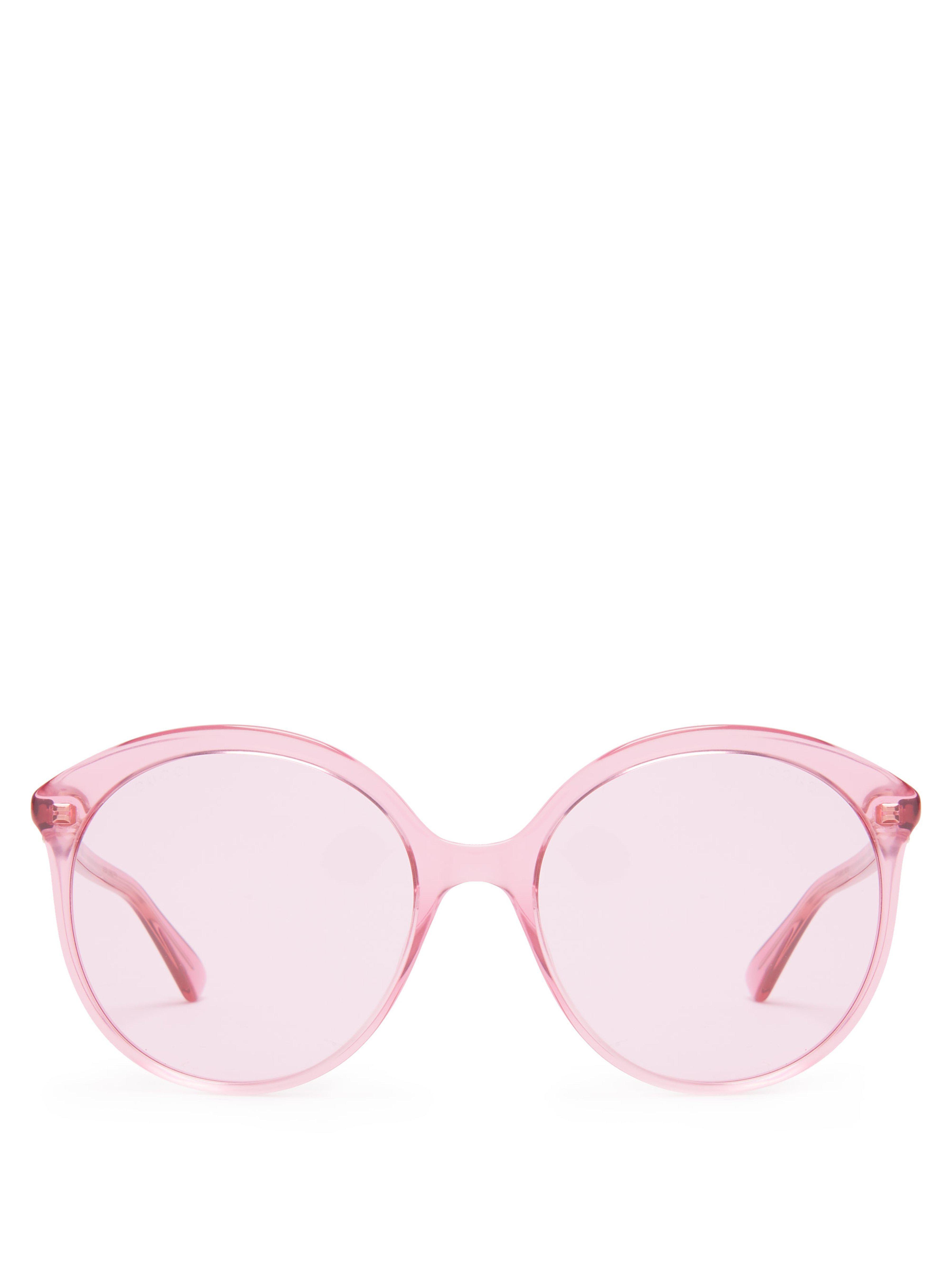 9887e8cefa8 Gucci Round Cat Eye Frame Acetate Sunglasses in Pink - Lyst