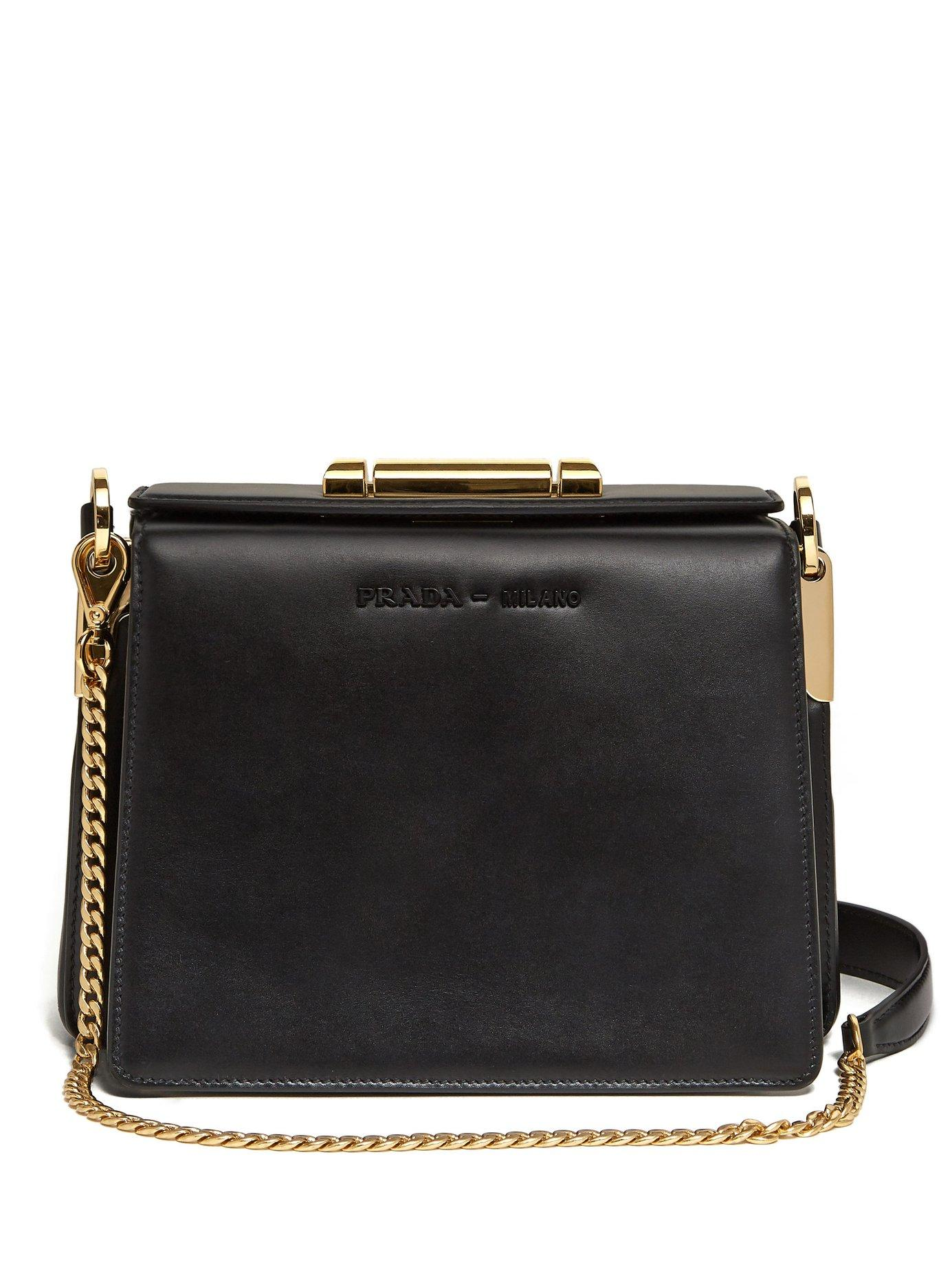 889b78c8532d Lyst - Prada Sybille Leather Cross Body Bag in Black