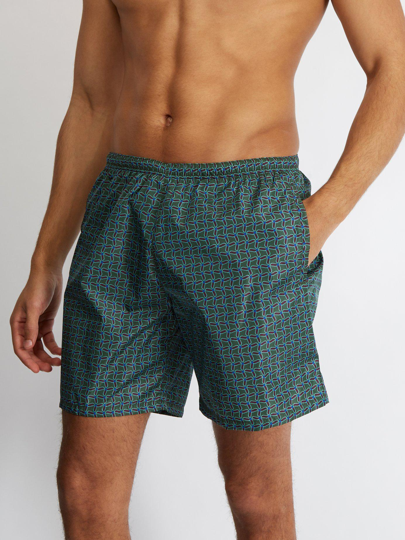 2b7539205d Prada Geometric-print Swim Shorts in Green for Men - Lyst