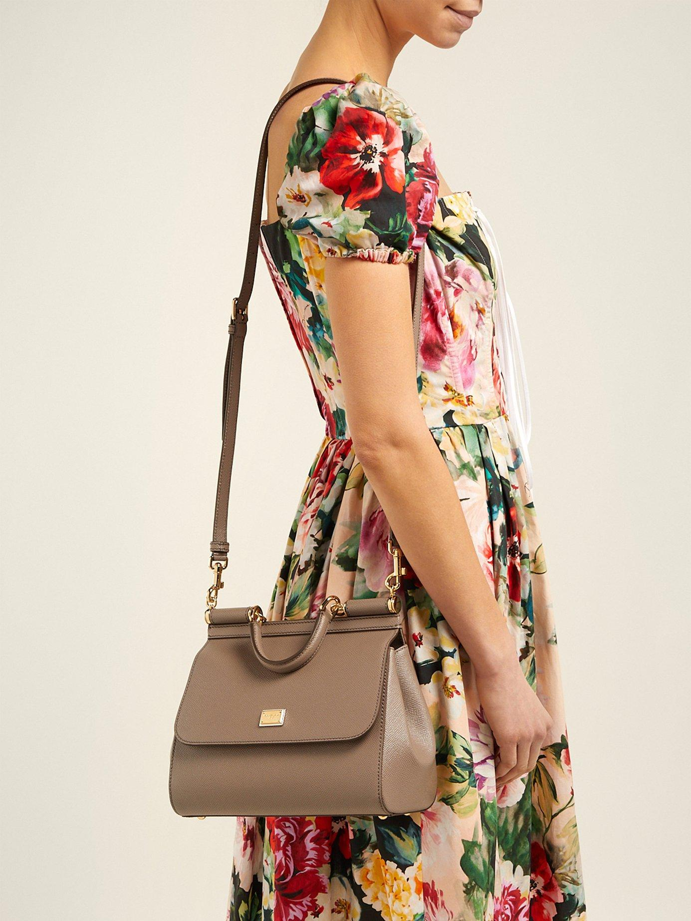 Lyst - Dolce   Gabbana Sicily Medium Dauphine Leather Bag in Gray e2e94f9193a5c