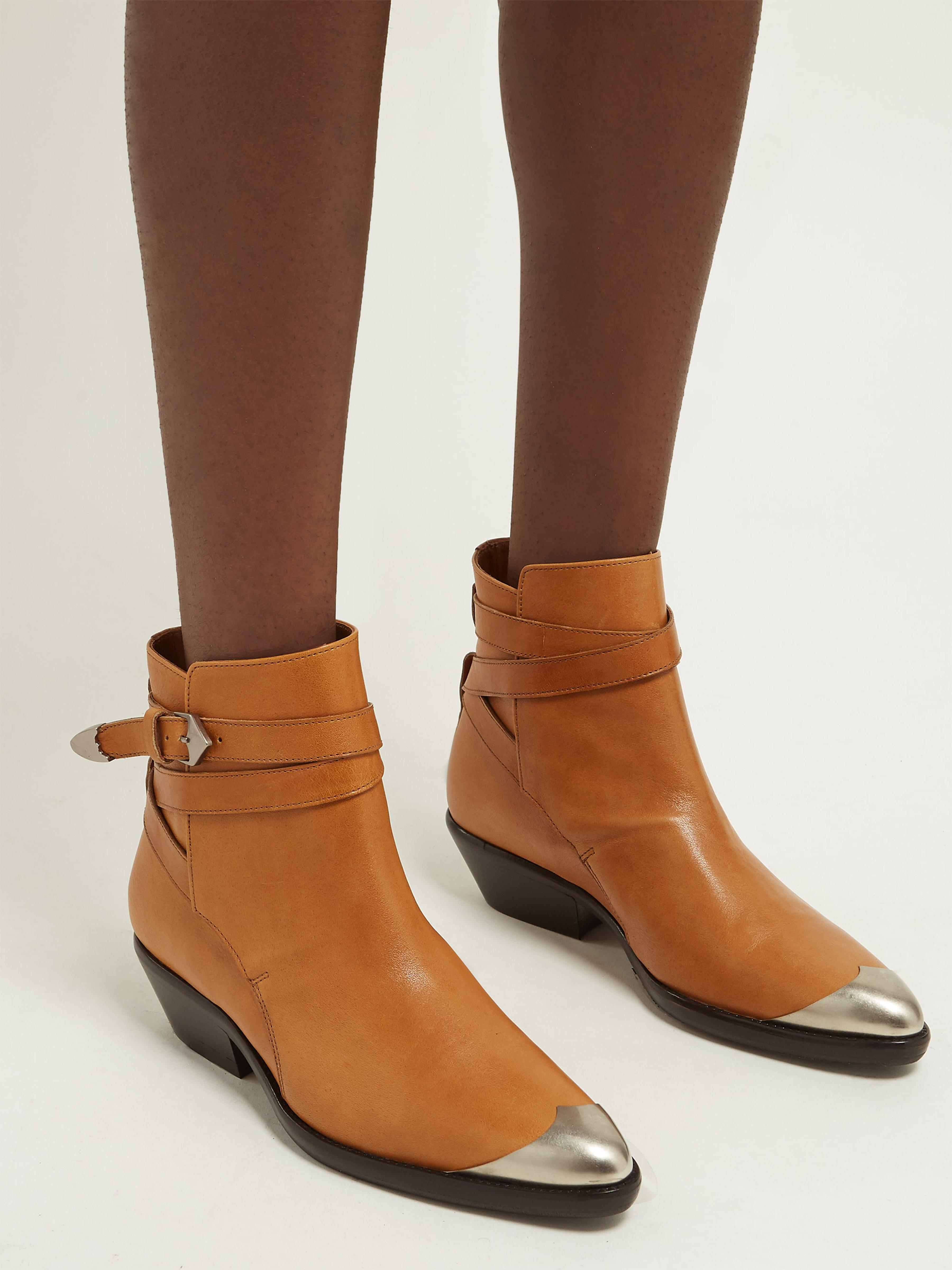 14b918bbf Isabel Marant Donee Metal Toecap Leather Ankle Boots in Brown - Lyst