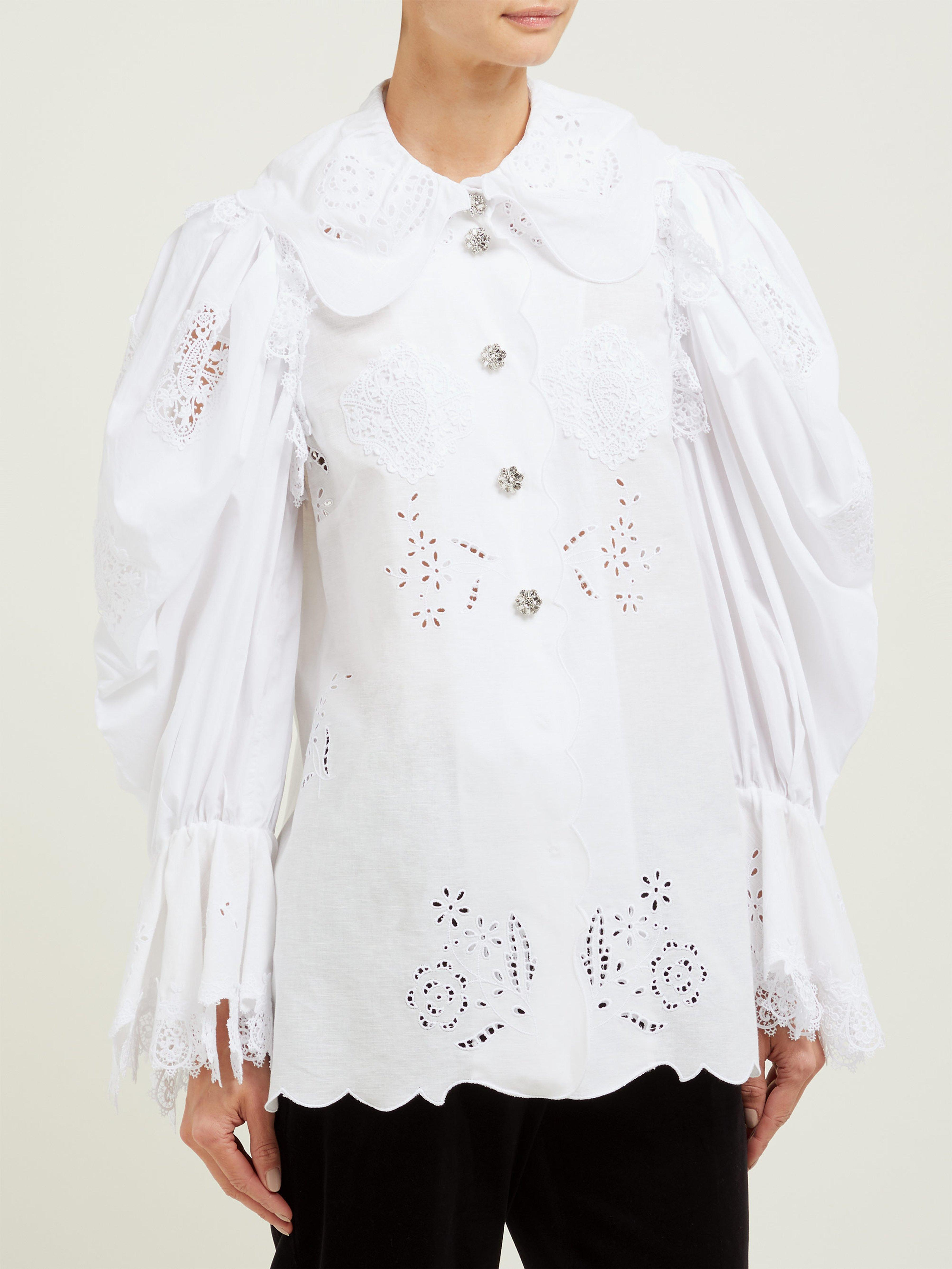 e6c0933505ce1f Dolce   Gabbana - White Broderie Anglaise Cotton Blend Blouse - Lyst. View  fullscreen