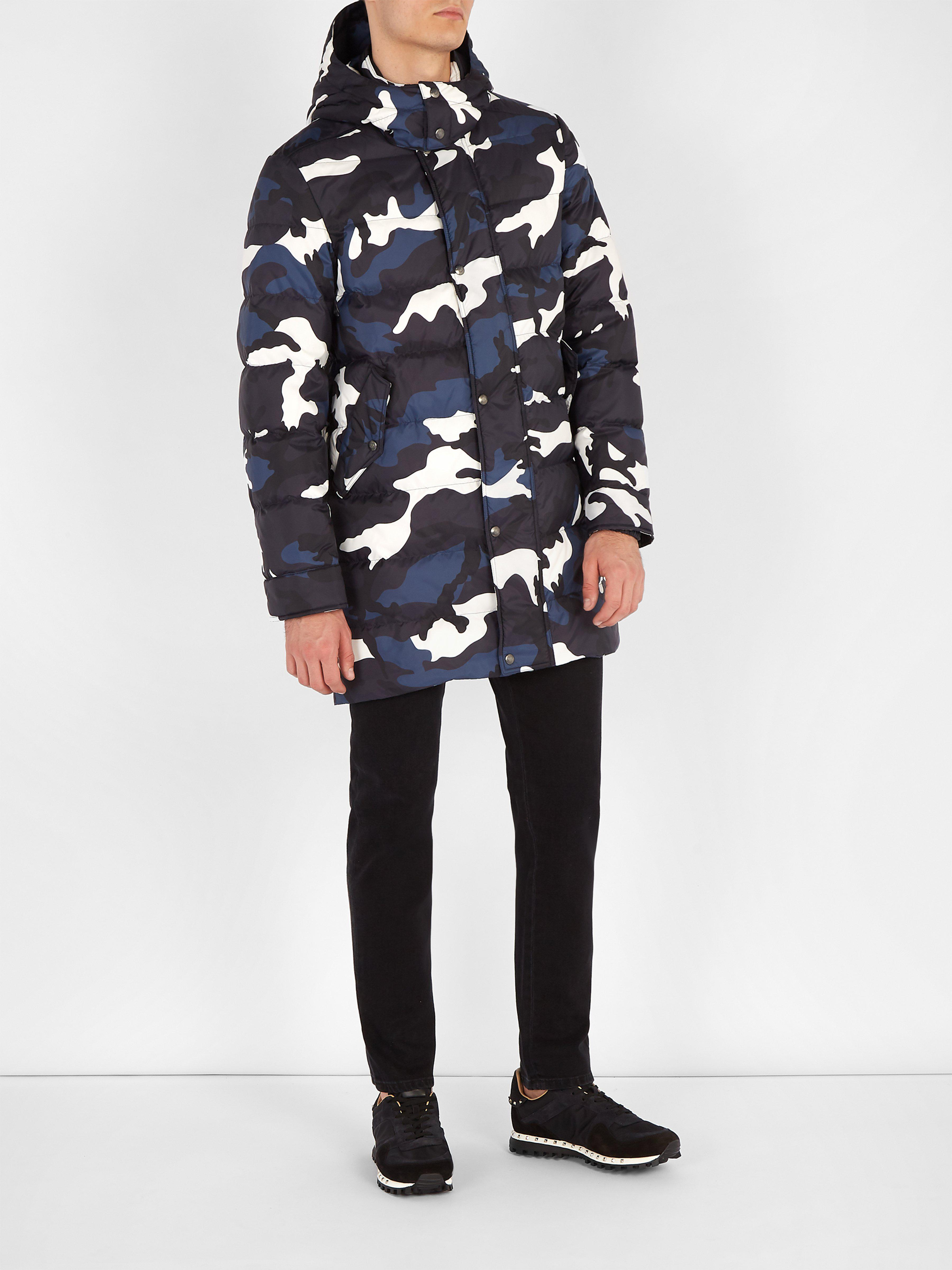 5425b548763d7 Valentino Camouflage Print Quilted Down Jacket in Blue for Men - Lyst