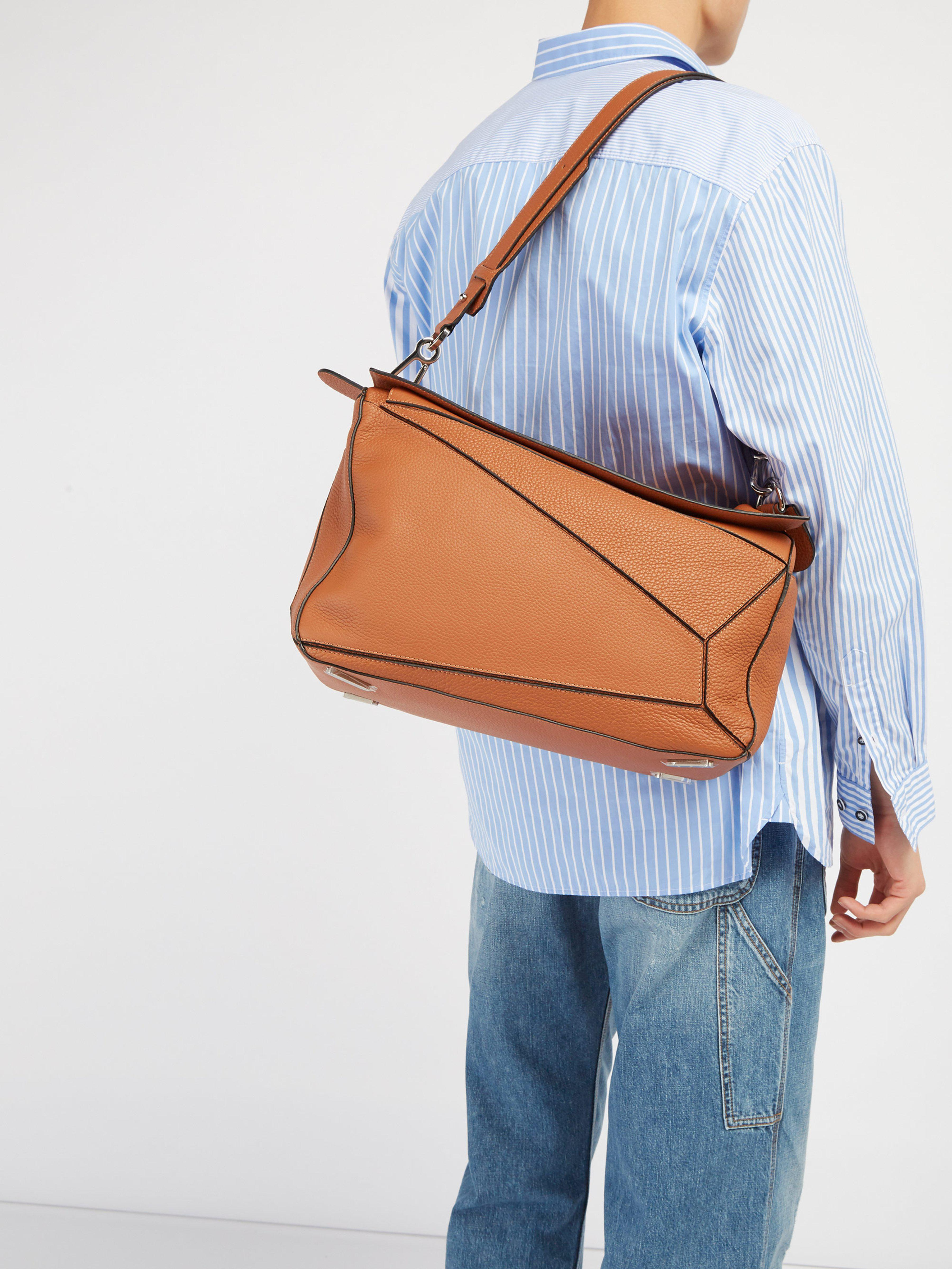 Loewe - Brown Puzzle Extra Large Grained Leather Bag for Men - Lyst. View  fullscreen cbe96ad855d21