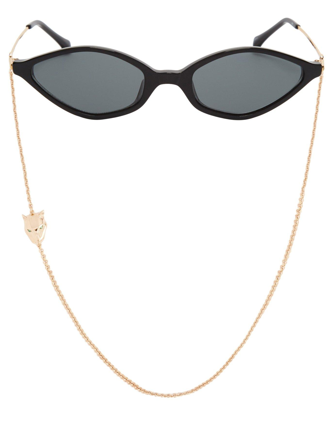 c2f84d58cc Lyst - Linda Farrow 3 C1 Slim Cat Eye Sunglasses in Black