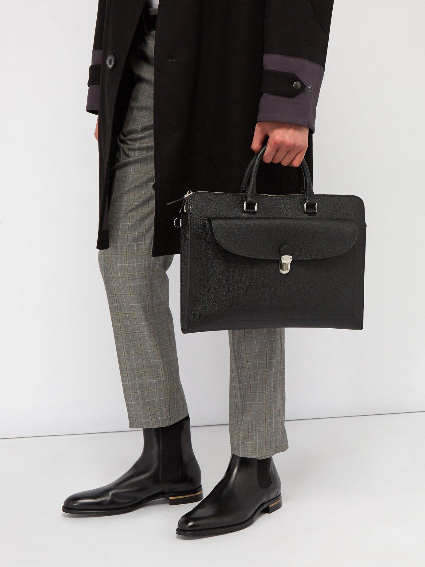 0d278e4dbbd8 Lyst - Tod s Extra Slim Pebbled Leather Briefcase in Black for Men