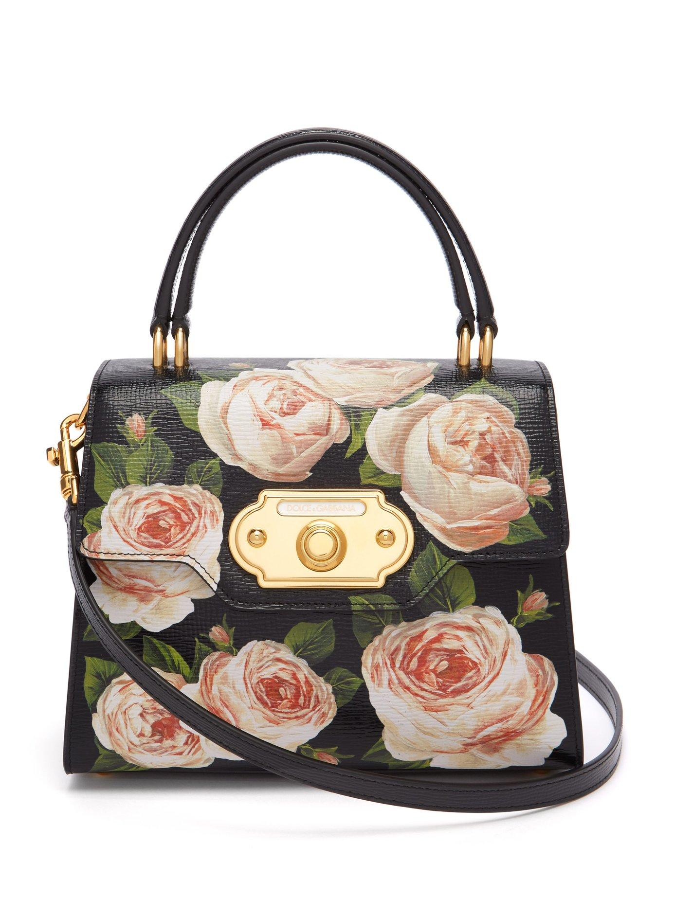 Lyst - Dolce   Gabbana Welcome Rose Printed Grained Leather Bag in Black ffd916e81bde1