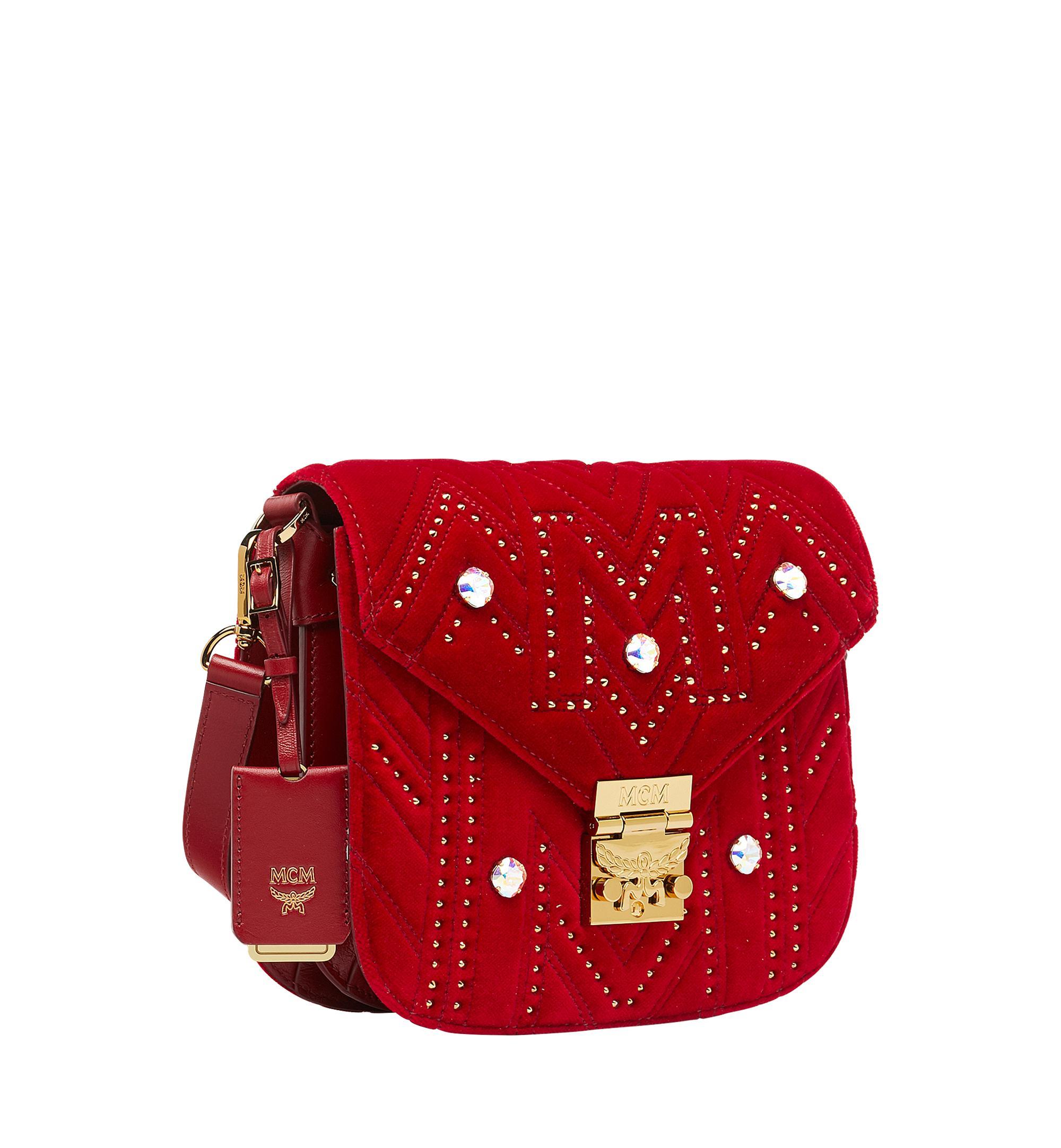 857251120f MCM Patricia Shoulder Bag In Velvet Crystal Studs in Red - Lyst