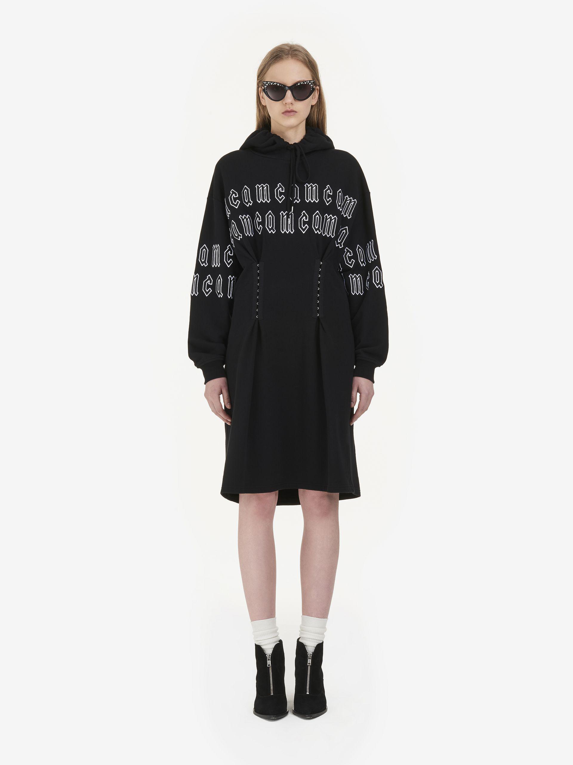 repeat logo corset hoodie dress - Black Alexander McQueen ELjWdeDft