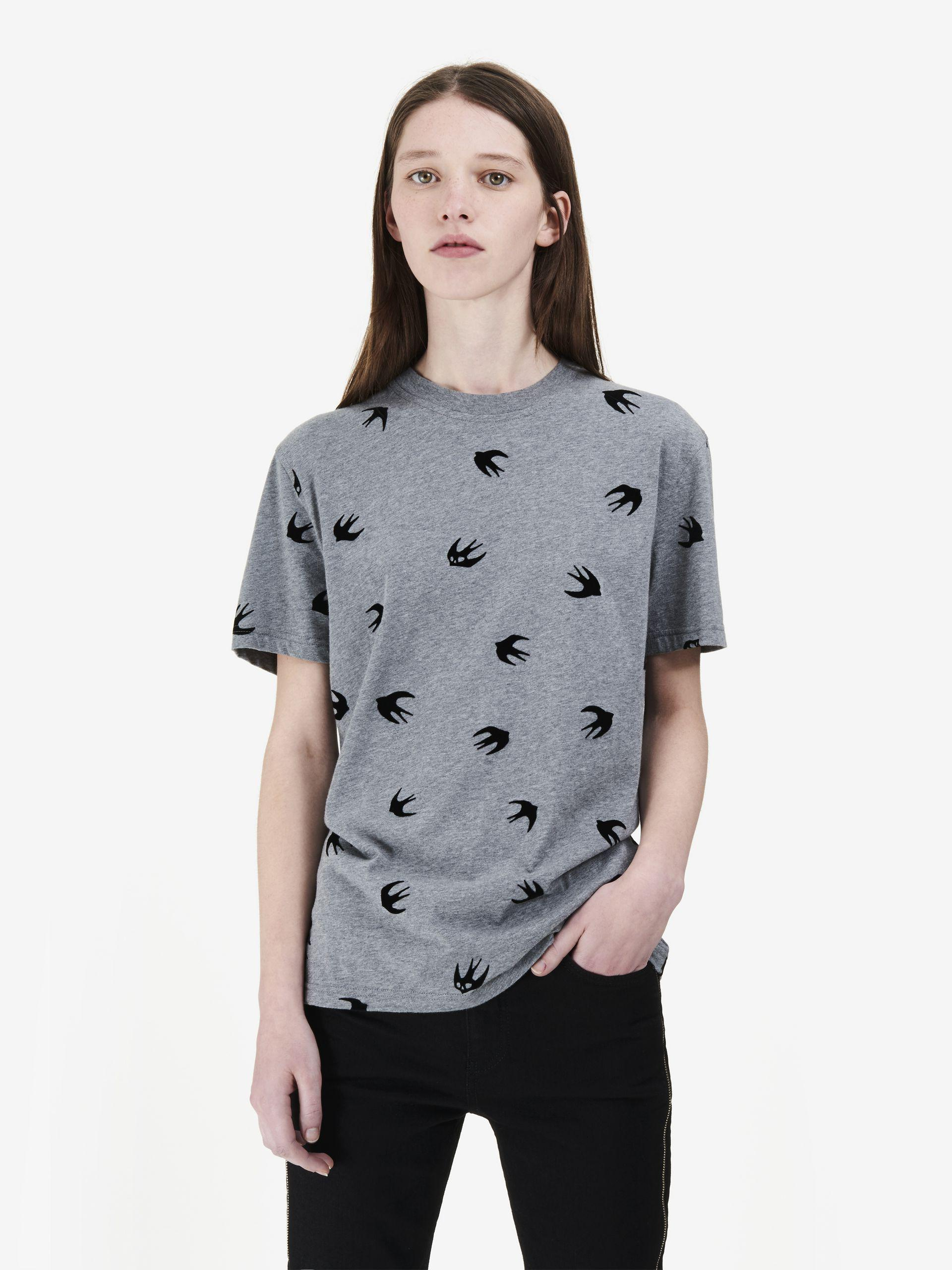 fb1fbacacaf8 Lyst - Mcq Alexander Mcqueen Micro Swallow T-shirt in Gray
