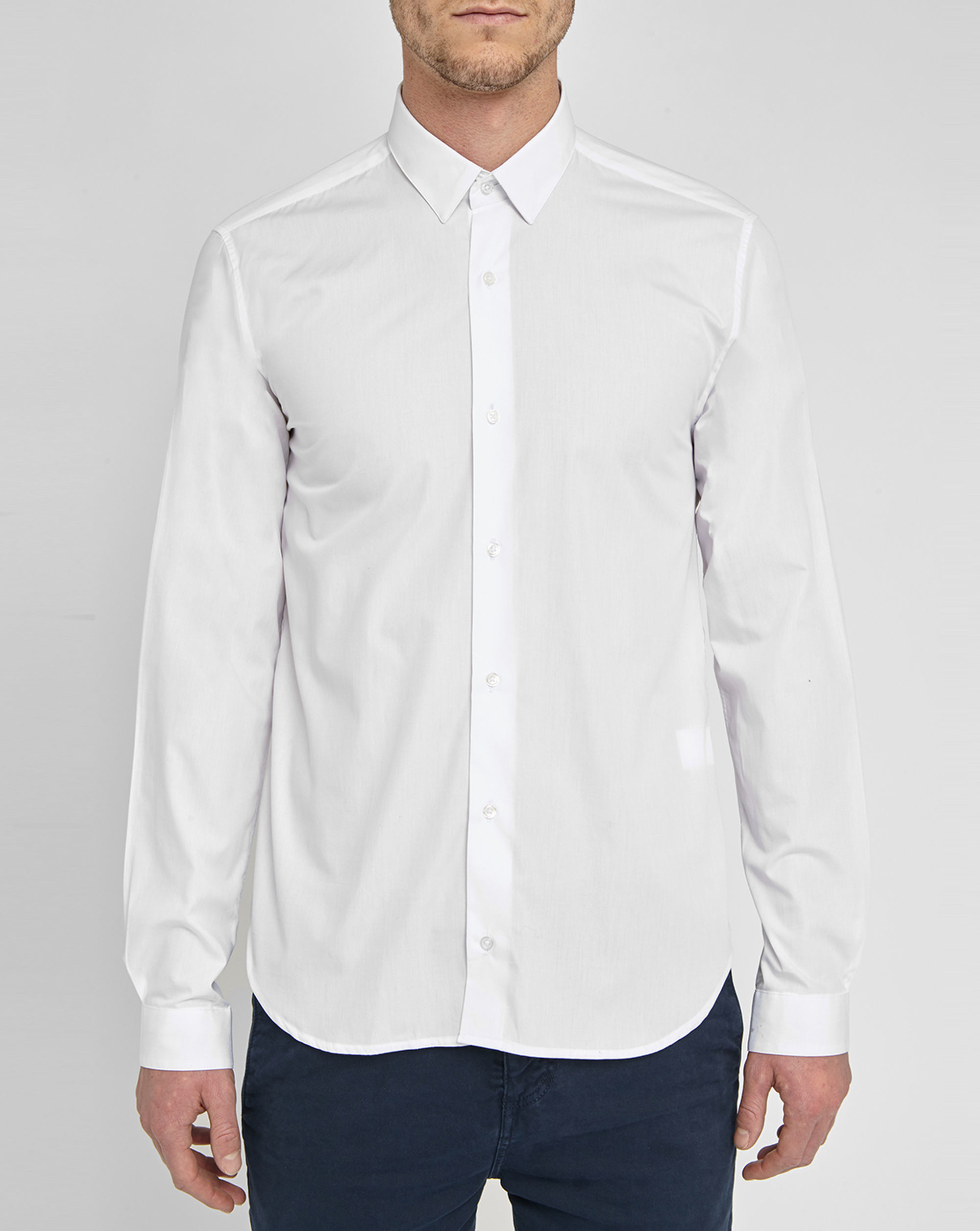 M.studio Noé White Poplin Cotton Shirt Fitted-cut Small ...