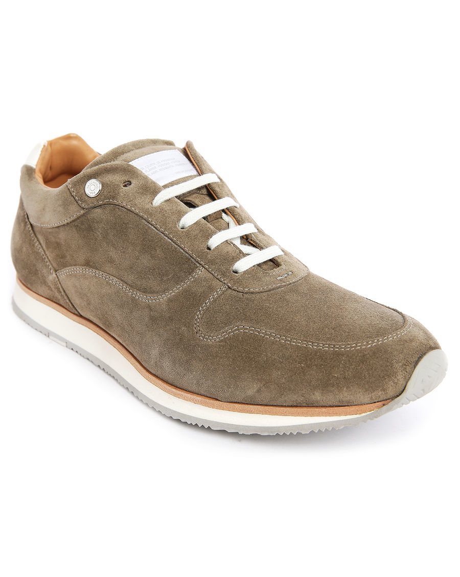 heschung athletic beige nubuck sneakers with white sole in