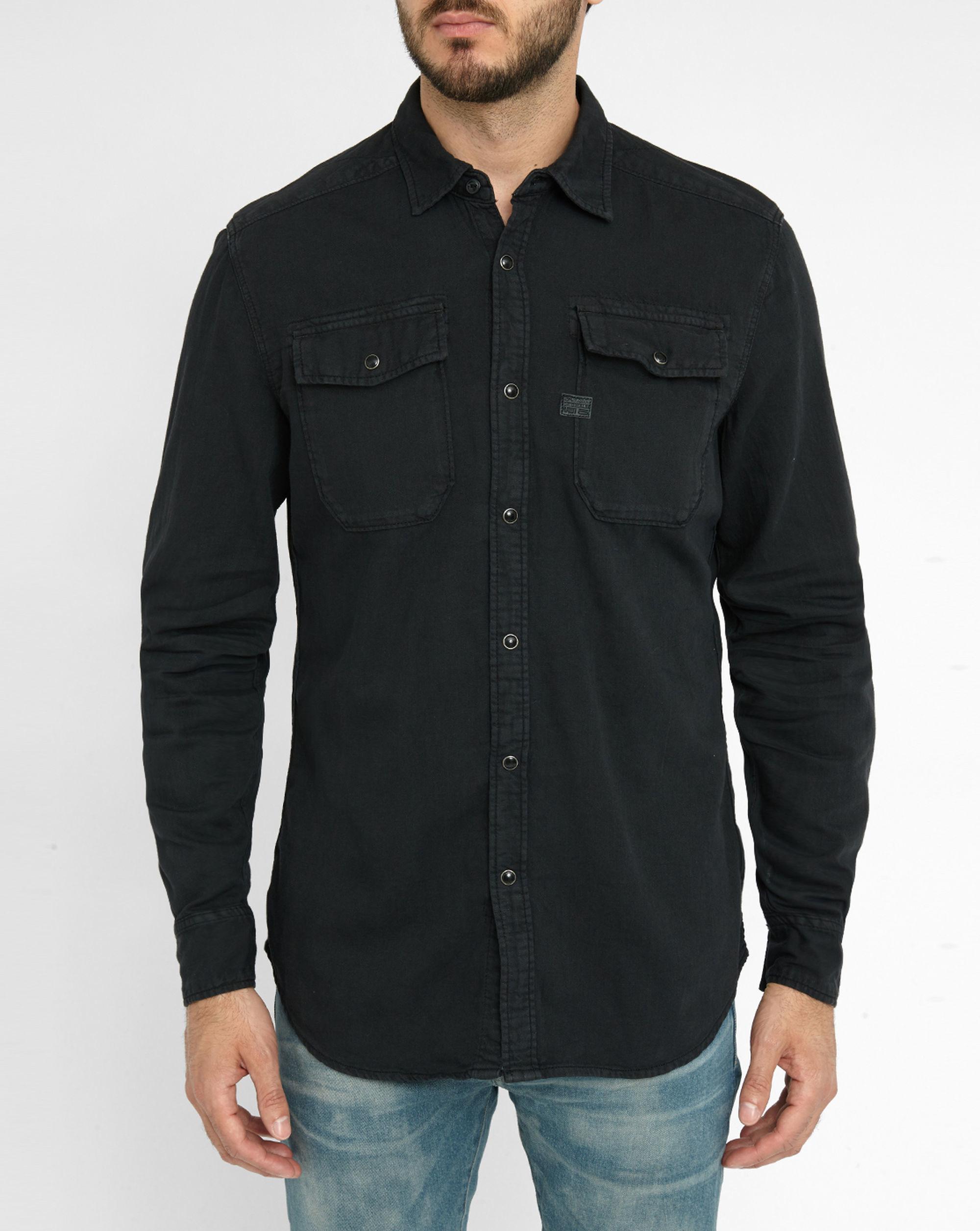 G star raw black denim shirt with press stud patch pockets for Dress shirt studs uk