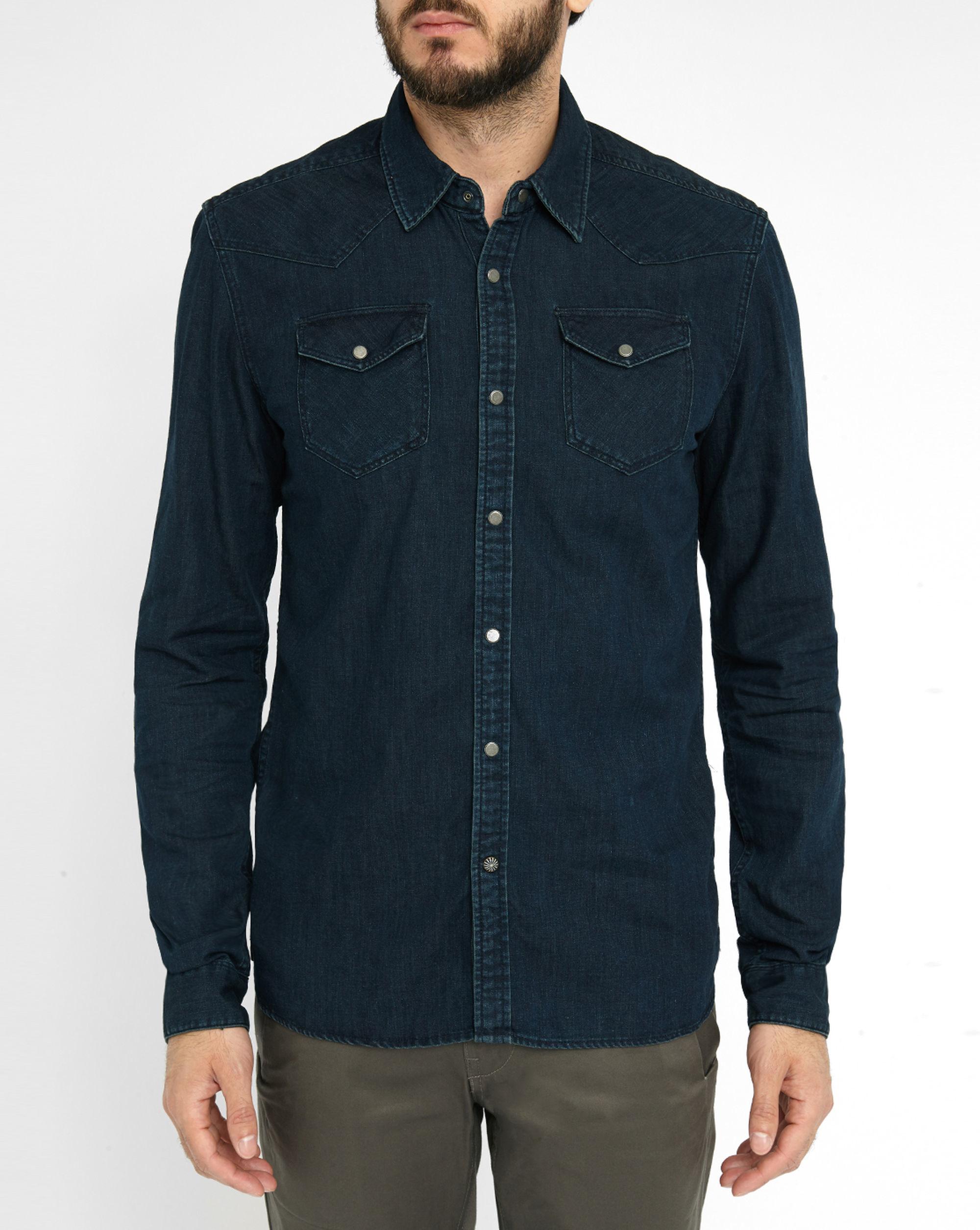 Scotch soda raw denim press studs shirt in blue for men for Dress shirt studs uk