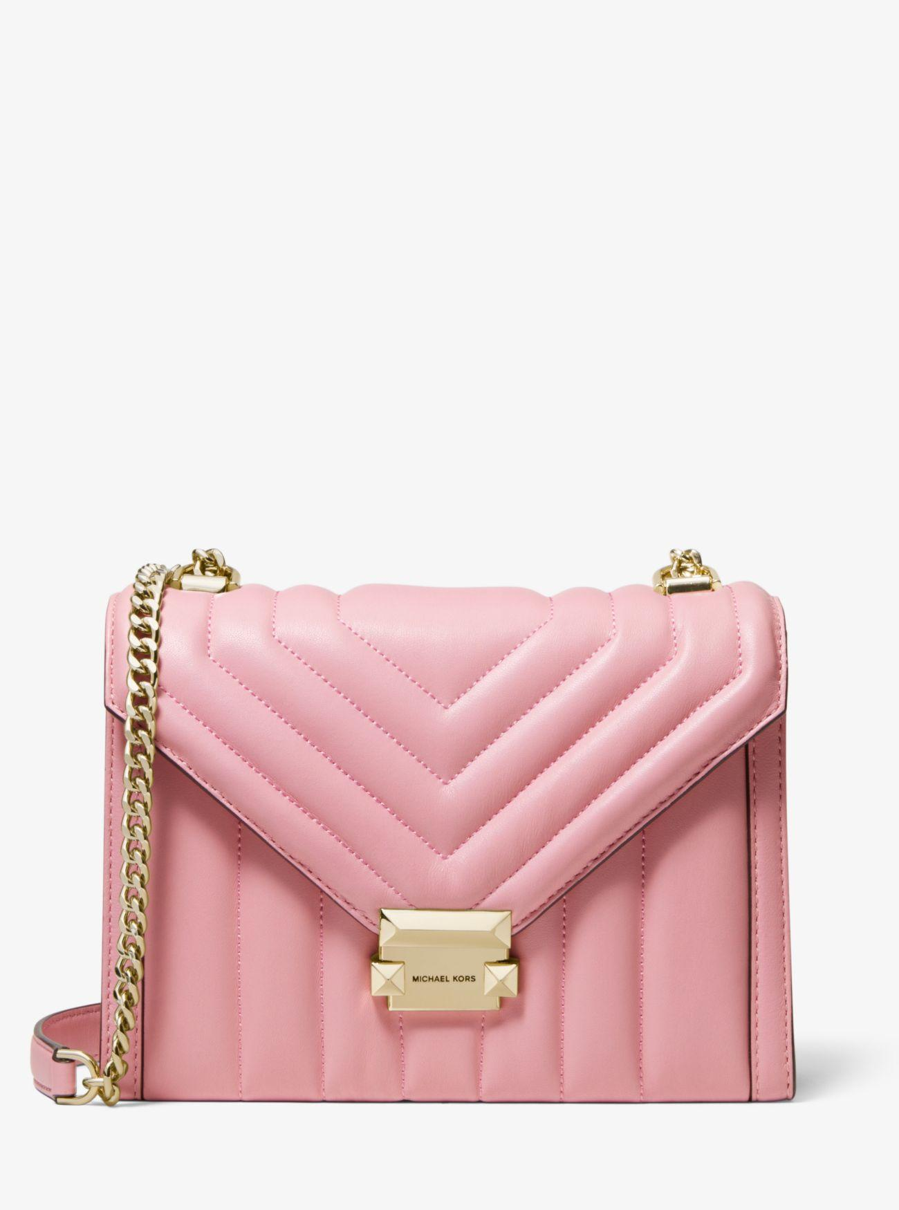 59f7534ef689 MICHAEL Michael Kors. Women s Pink Whitney Large Quilted Leather  Convertible Shoulder Bag