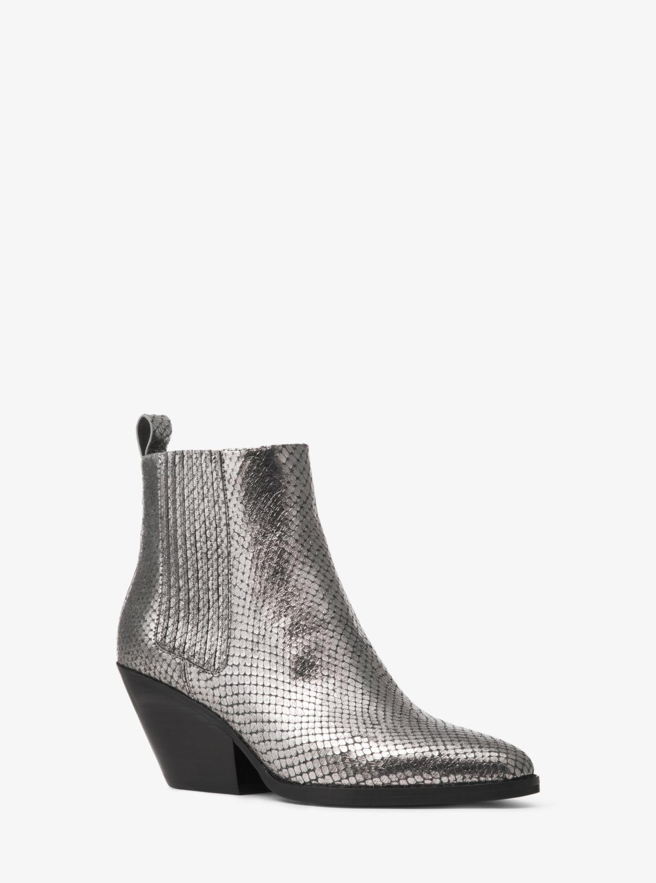 768bf02ca3 MICHAEL Michael Kors. Women s Gray Sinclair Metallic Embossed Leather Ankle  Boot