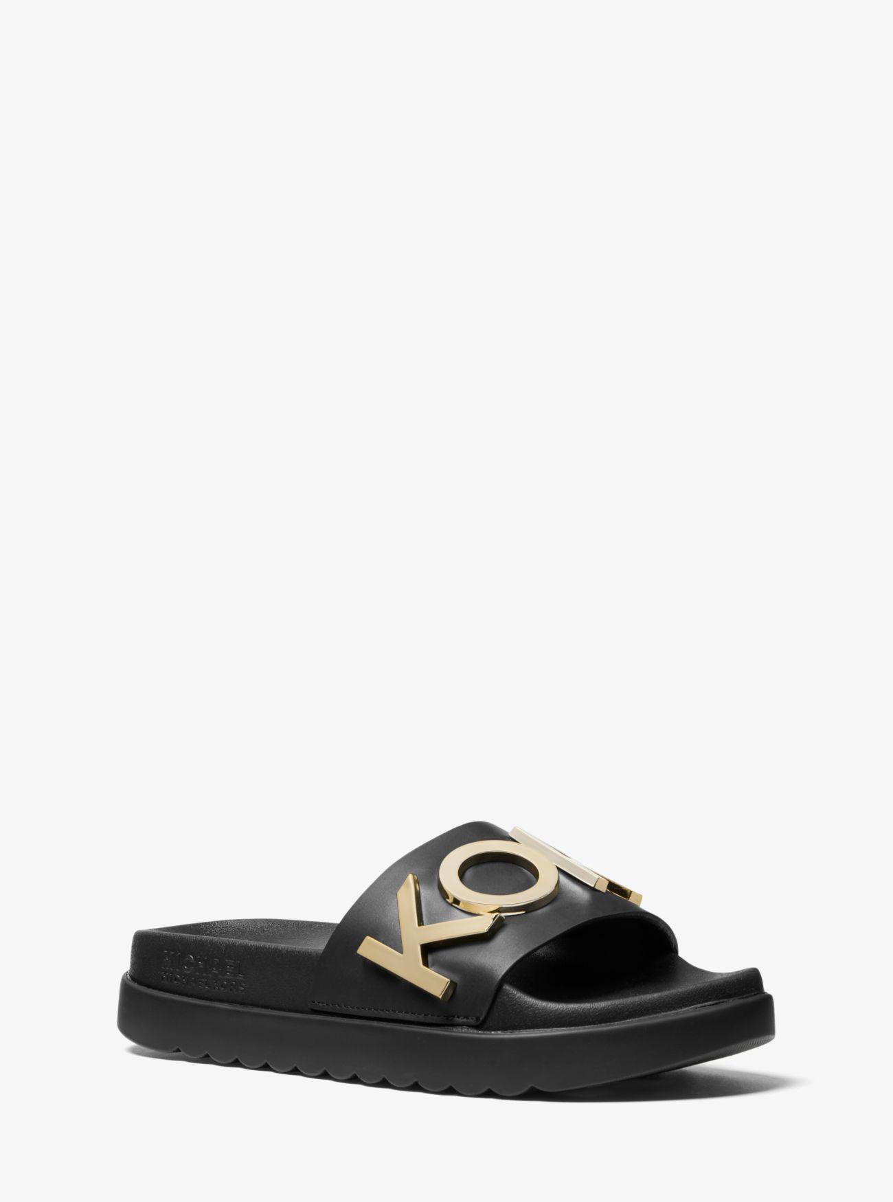 Michael Kors Cortlandt Embellished Leather Slide Sandal In