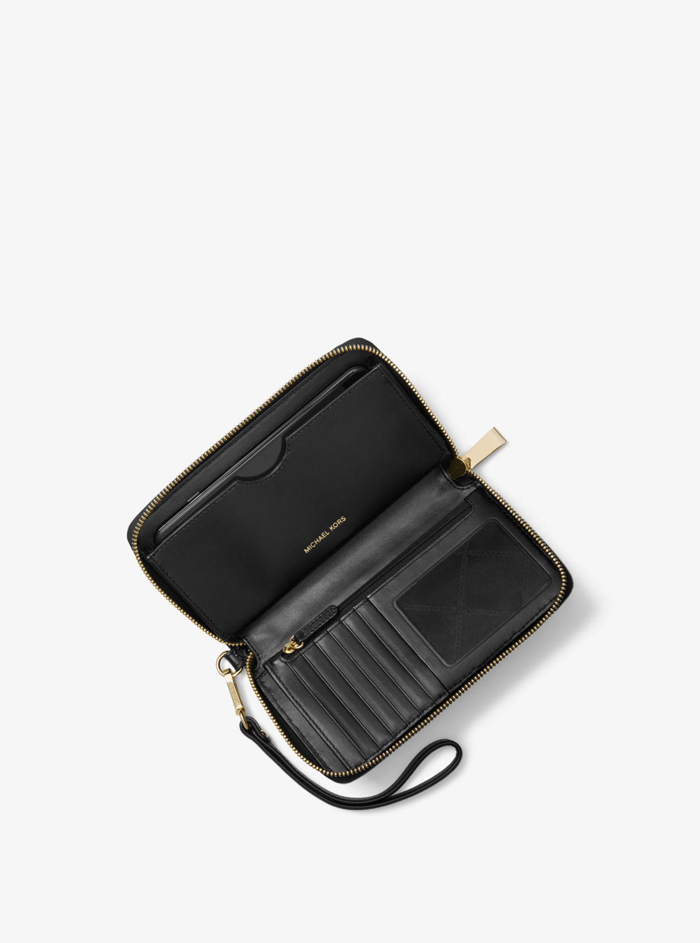 c4322393eb1c6c Michael Kors Large Glitter Smartphone Wristlet in Black - Lyst