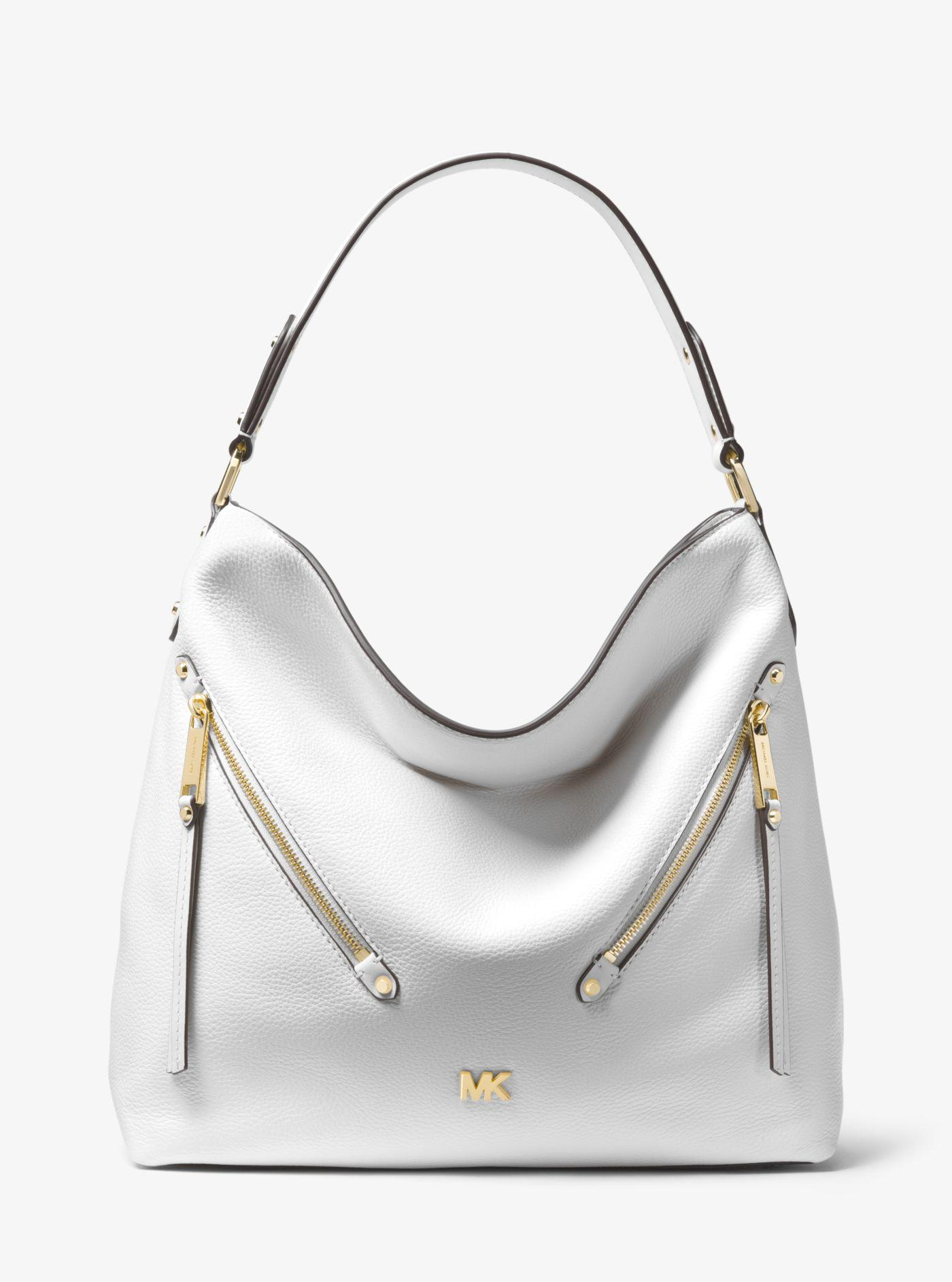 2a1c885f101c Michael Kors Evie Large Pebbled Leather Shoulder Bag in White - Lyst