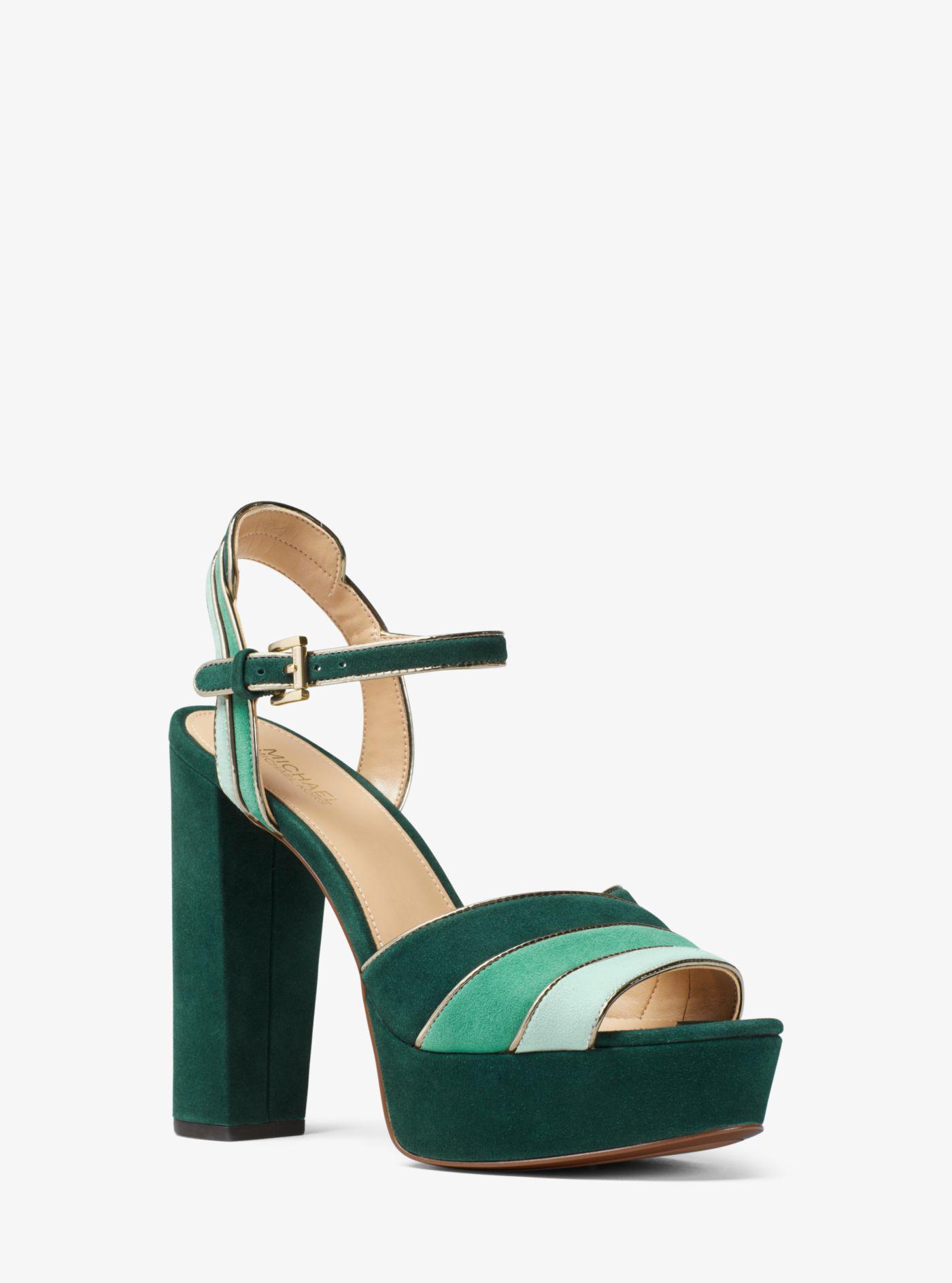 db41a4a05faa Lyst - Michael Kors Harper Tri-color Suede Platform Sandal in Green