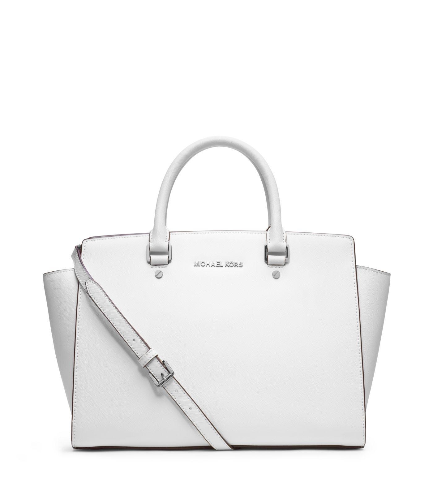c9293d3347b255 ... get michael kors selma large saffiano leather satchel in white lyst  d1bb2 f2388
