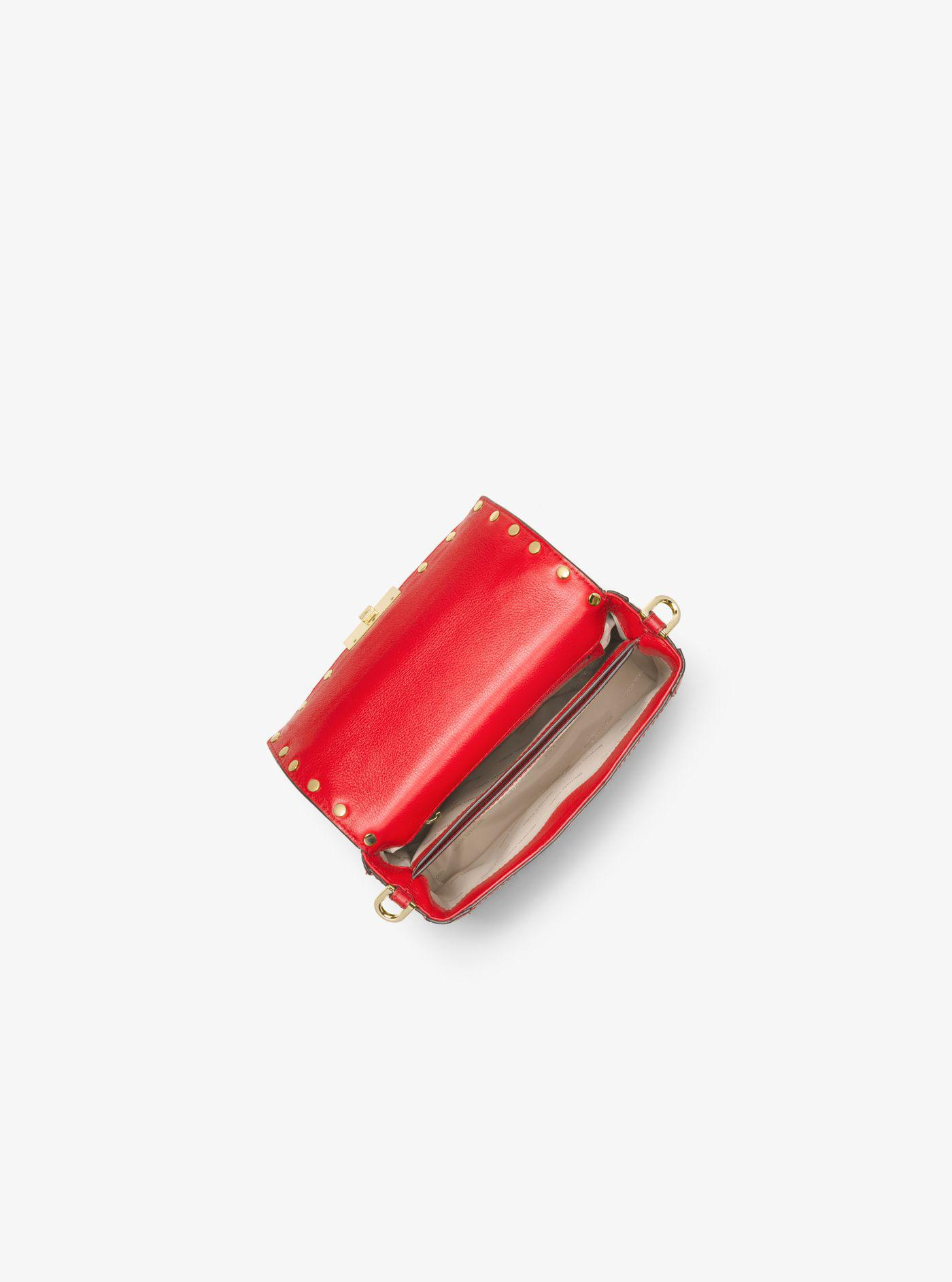 3af696daa61c Michael Kors Cori Small Leather Trunk Bag in Red - Lyst