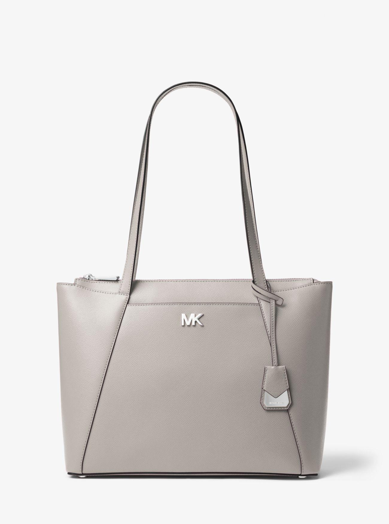 e9b91882c8b8 Michael Kors Maddie Medium Crossgrain Leather Tote Bag in Gray - Lyst