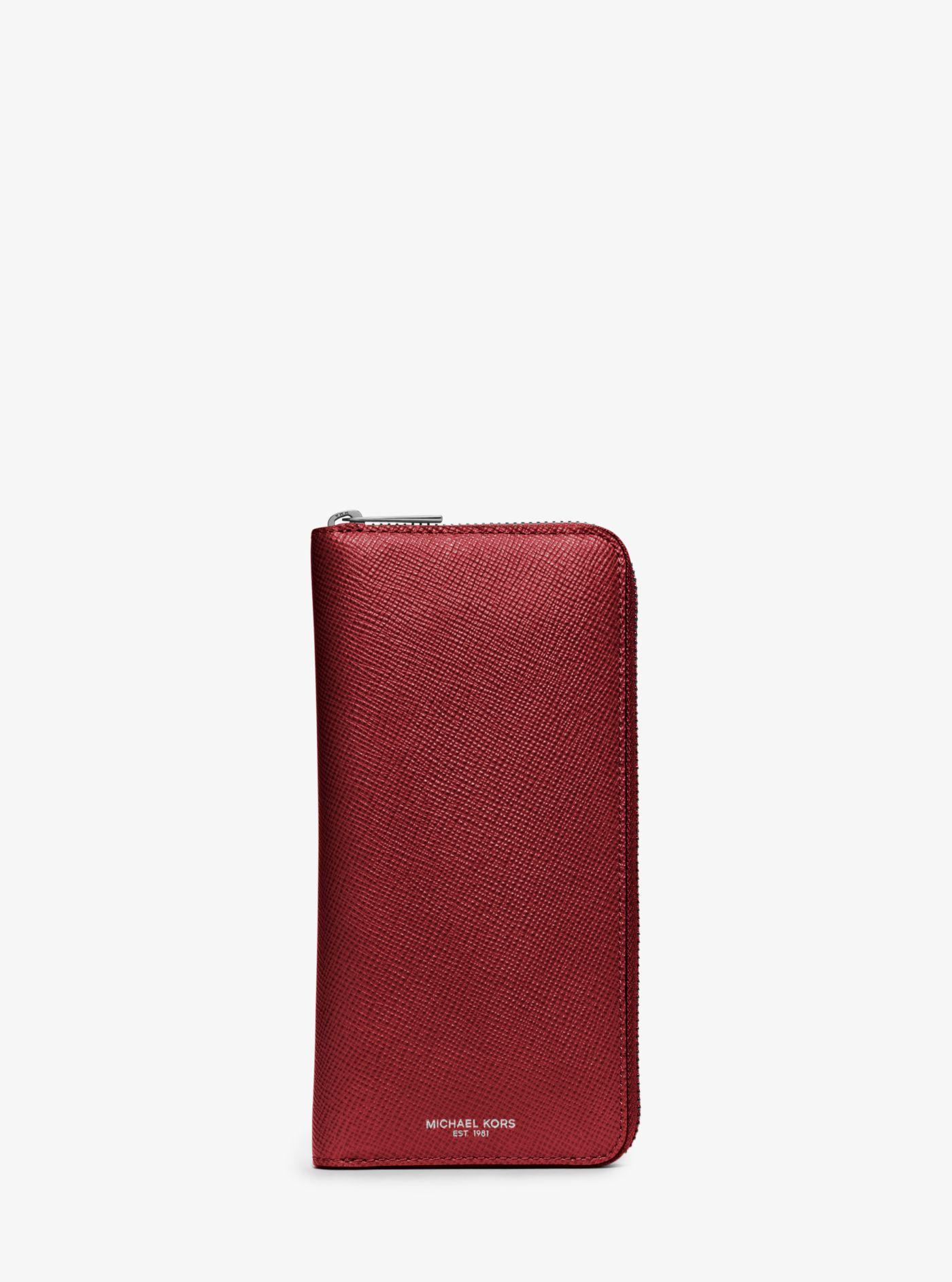 735264a17e4e Lyst - Michael Kors Harrison Leather Zip-around Wallet in Red for Men