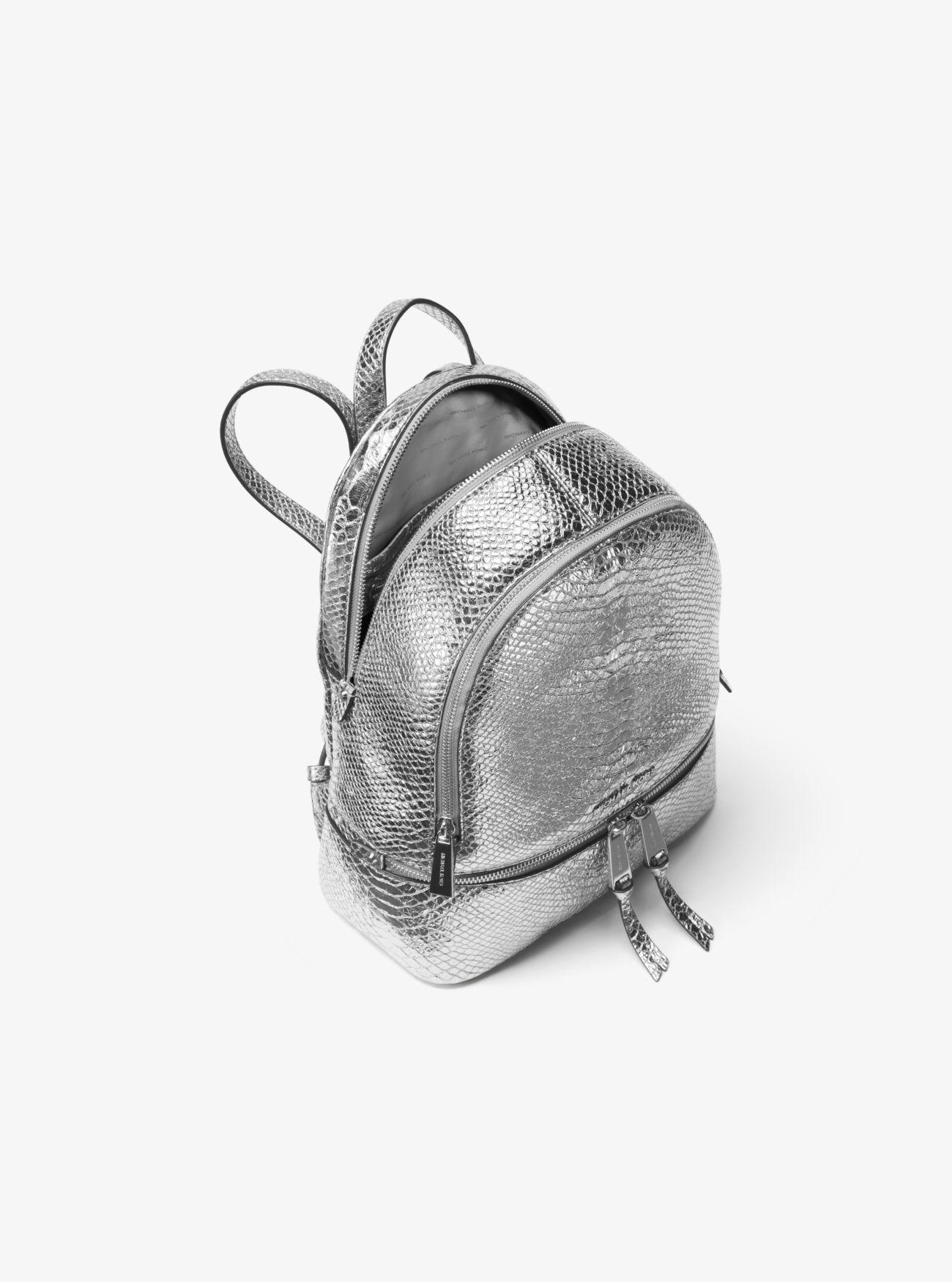 e6e713974637 Michael Kors Rhea Medium Metallic Embossed-leather Backpack in ...
