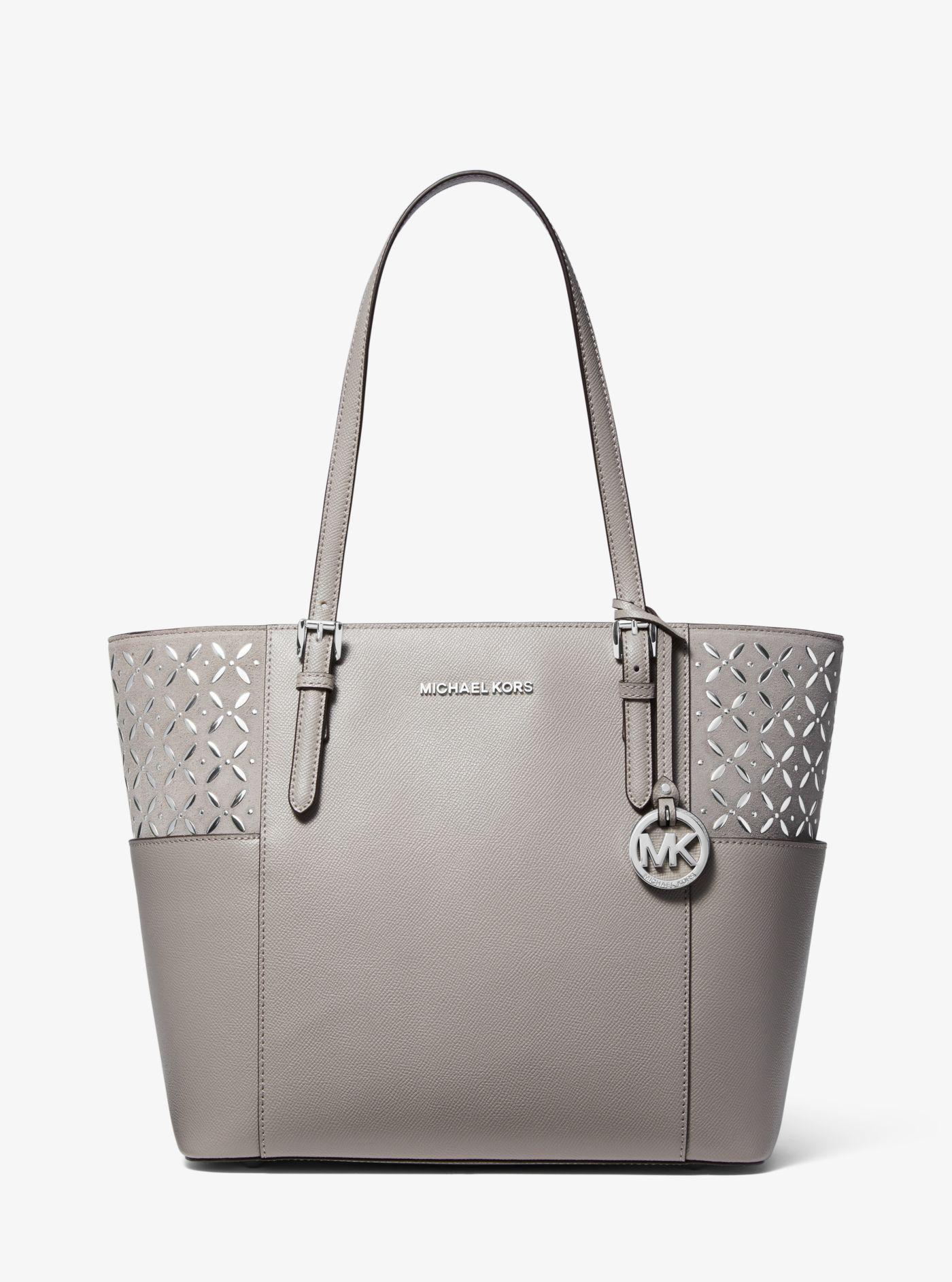 076143ff3b47 Michael Kors Jet Set Large Embellished Leather Tote Bag in Gray - Lyst