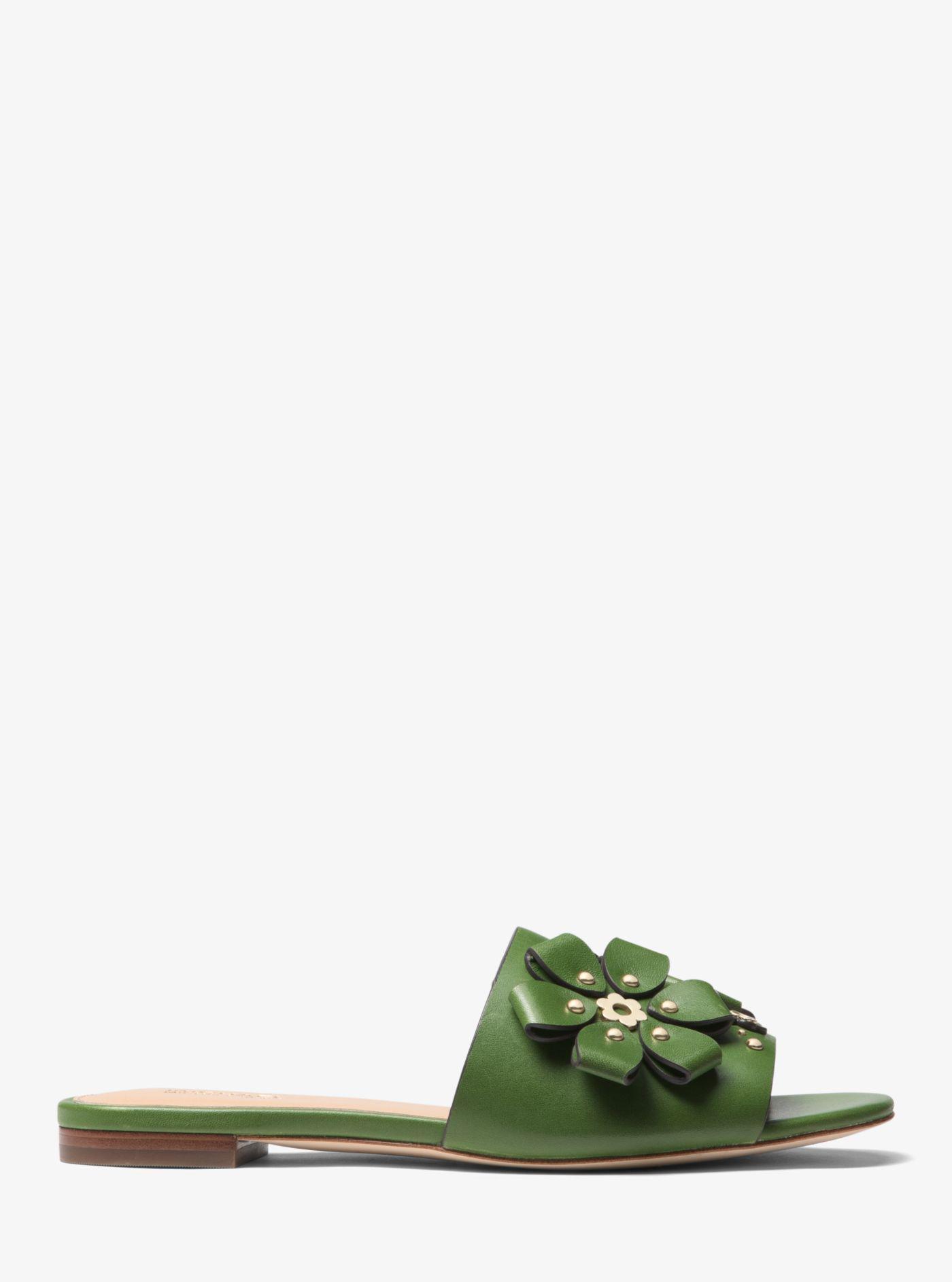 83a2c5c427c Michael Kors Tara Floral Embellished Leather Slide in Green - Lyst