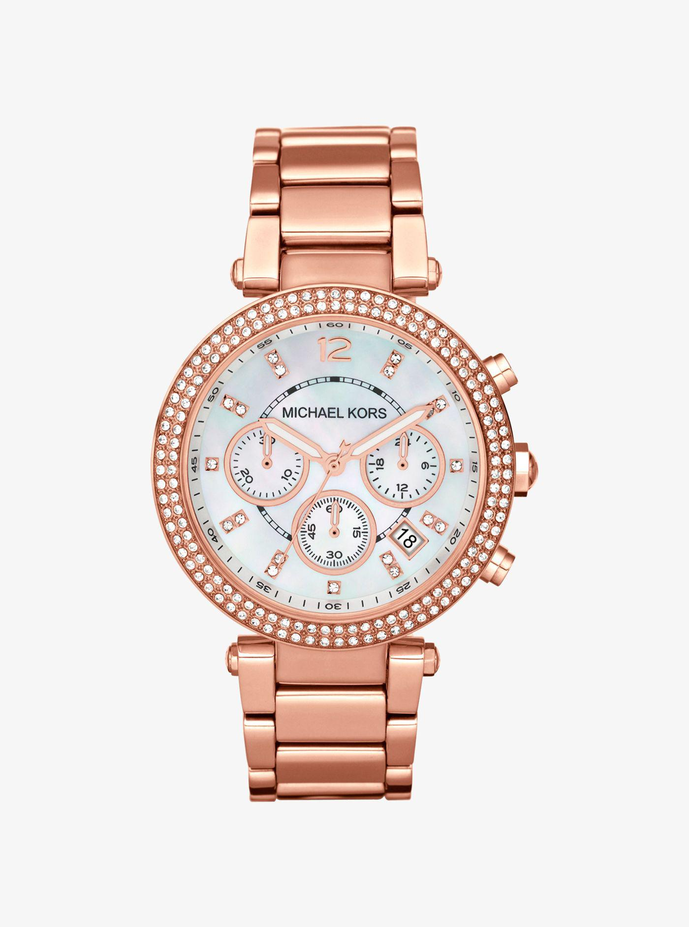 e61752b16c37 Michael Kors - Metallic Parker Rose Gold-tone Watch - Lyst. View fullscreen