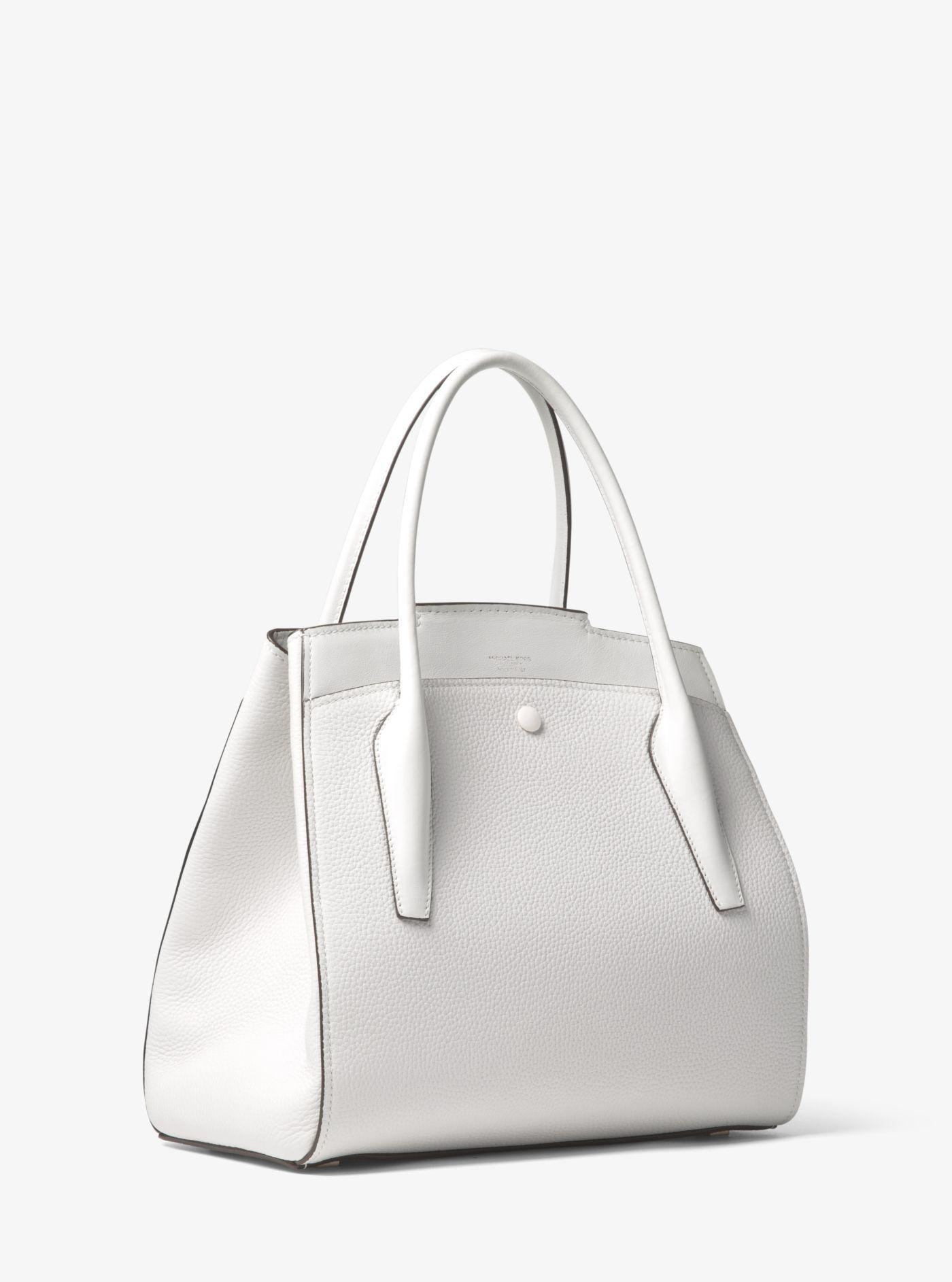 9b279516bc16d0 ... sale lyst michael kors bancroft large pebbled calf leather satchel in  white 05aa3 4d97e ...