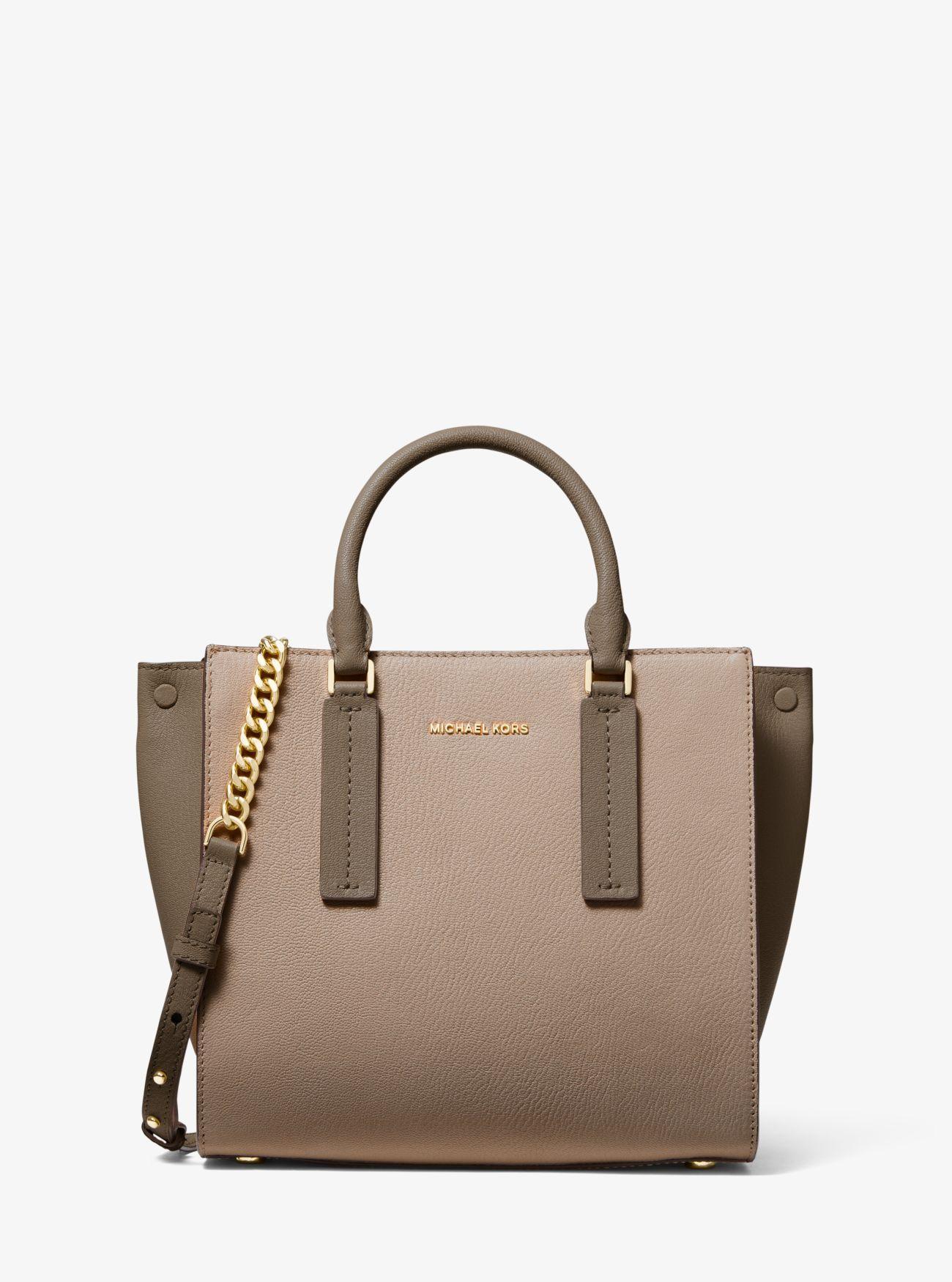 9bf8f08d376b MICHAEL Michael Kors. Women s Natural Alessa Medium Color-block Pebbled  Leather Satchel
