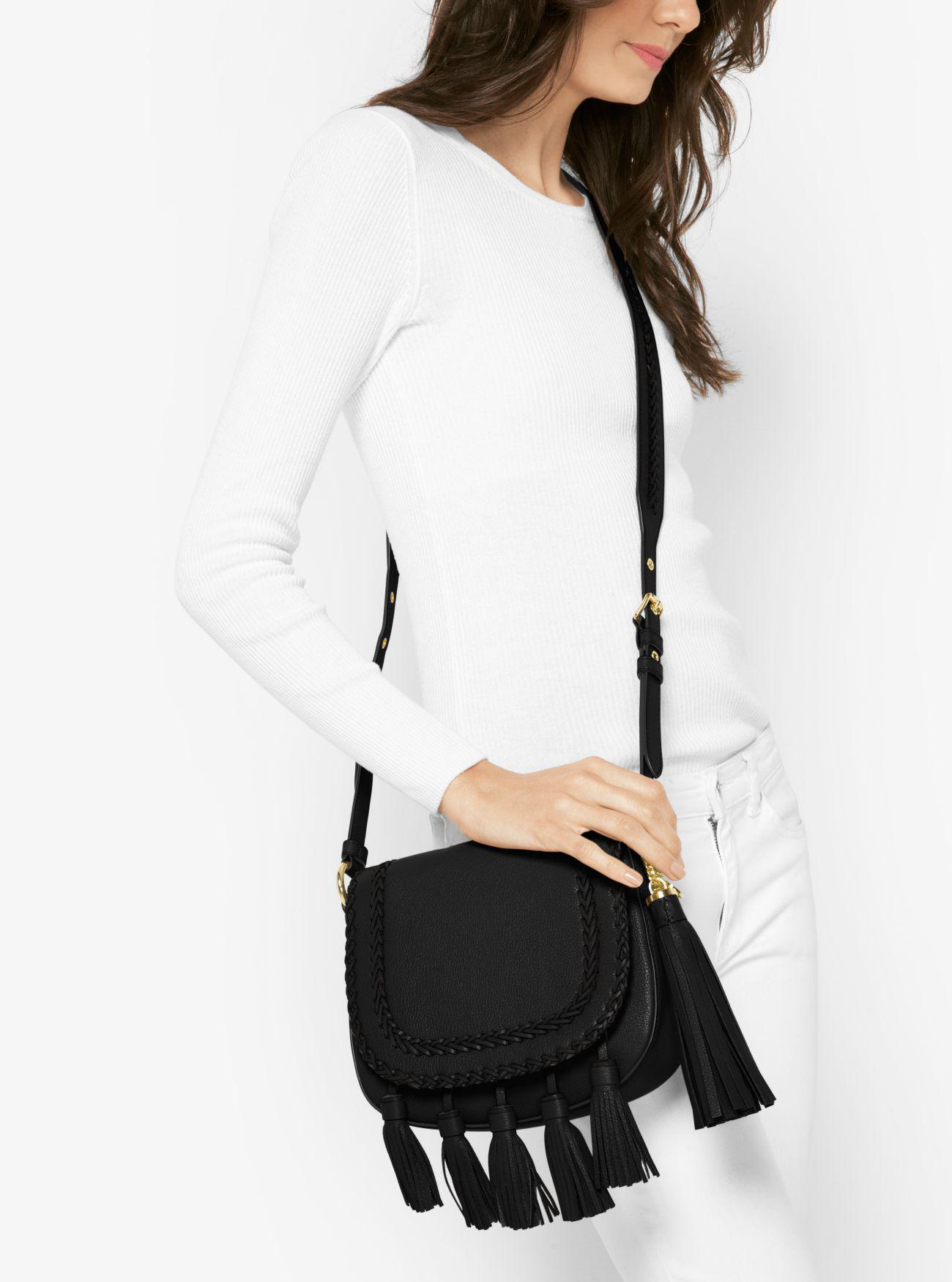 32108ab084c3f Lyst - Michael Kors Moroccan Leather Messenger in Black