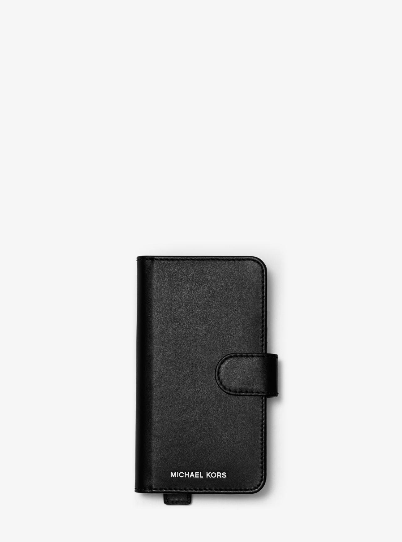 8f42c43a066 MICHAEL Michael Kors. Women's Black Embellished Leather Hand-strap Folio  Case For Iphone ...