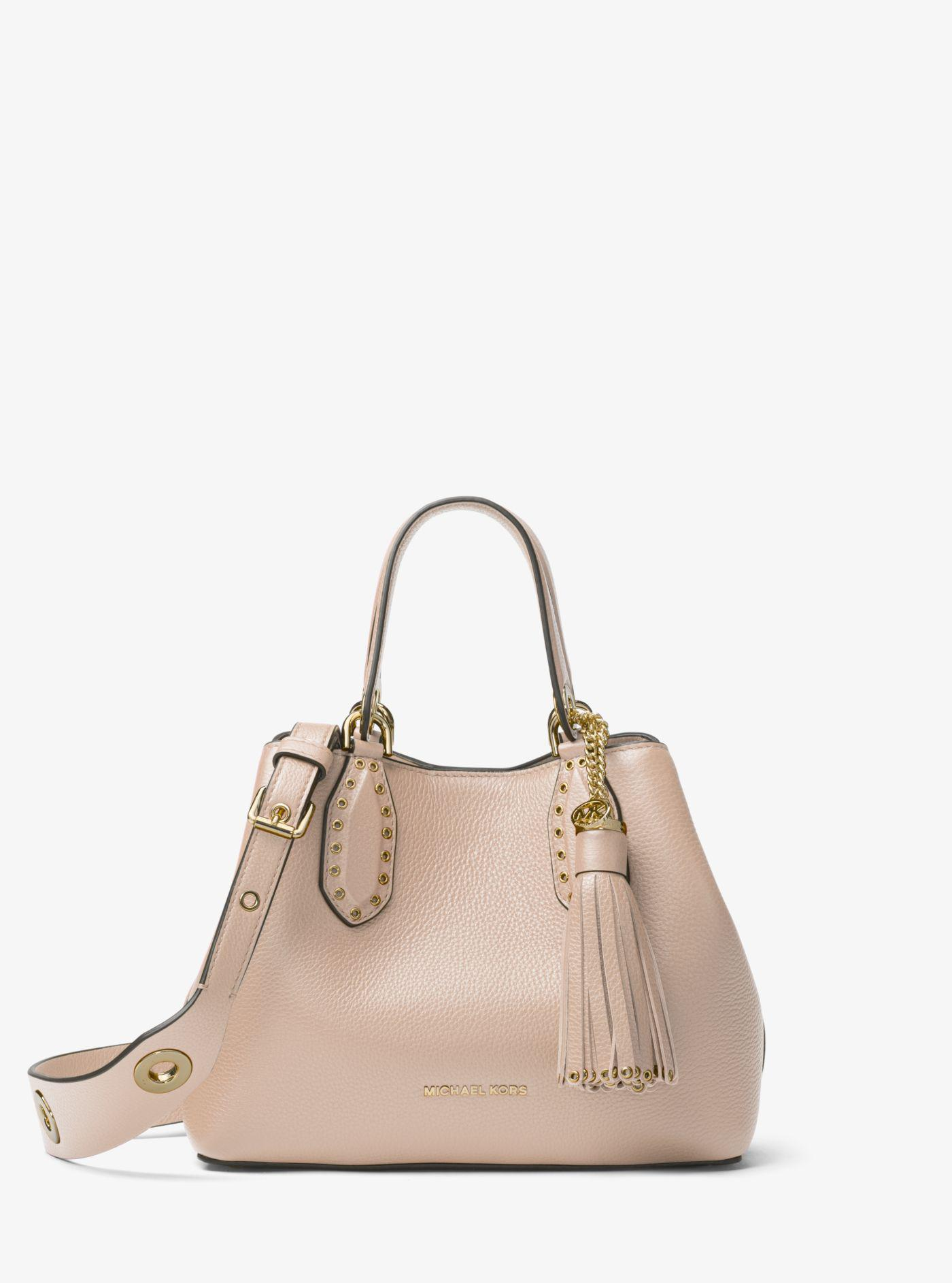 96b0c95c521e8 Michael Kors Brooklyn Small Leather Satchel in Pink - Lyst