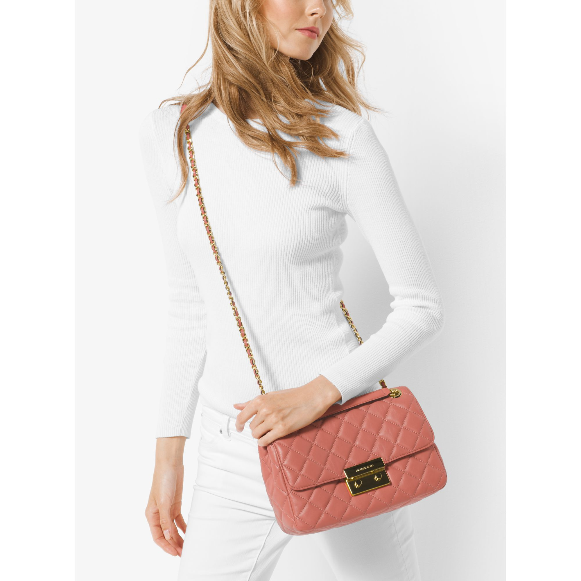 ae815bea460470 Sloan Large Quilted Leather Shoulder Bag Soft Pink Best Quilt. Gallery. Michael  Kors Sloan Large Chain ...