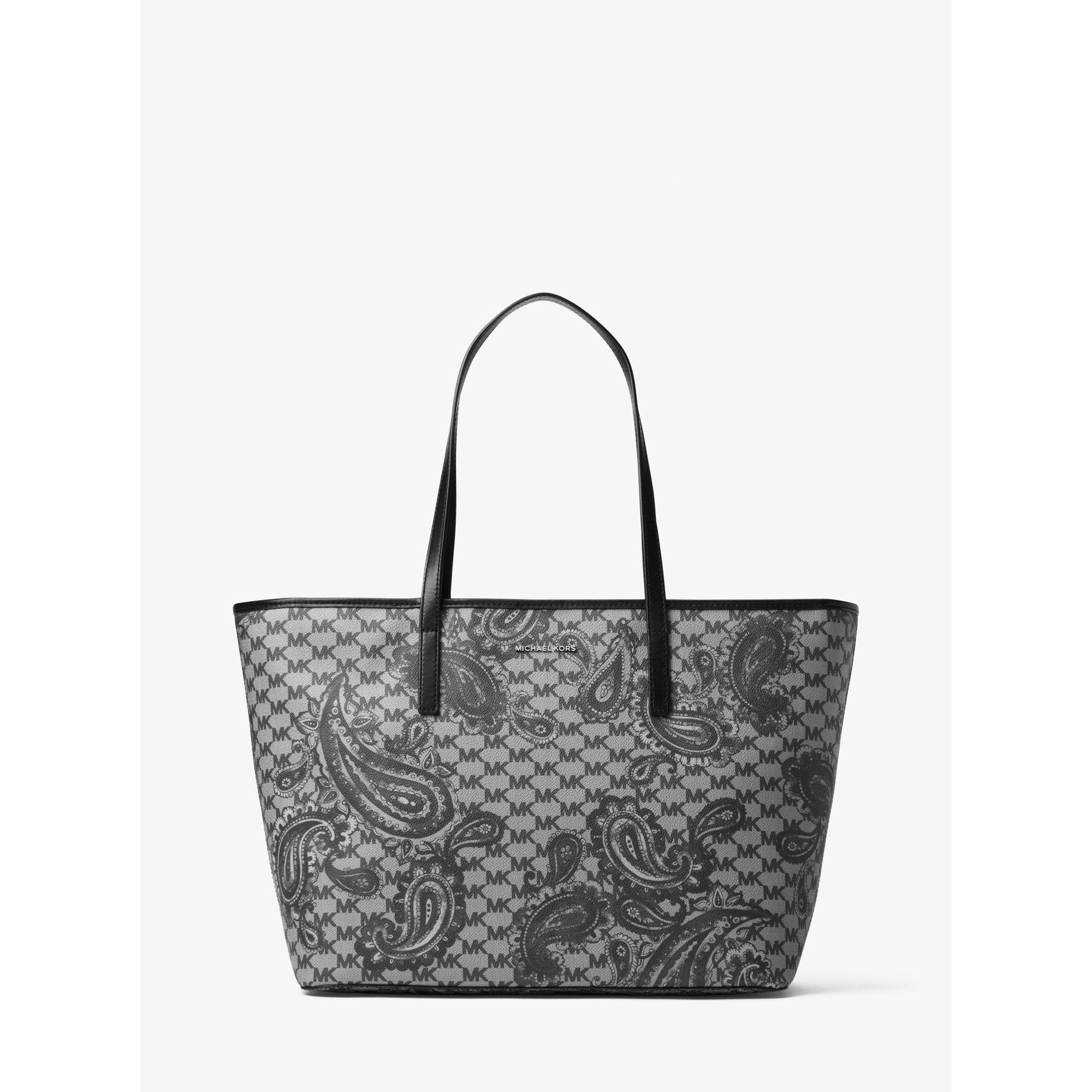 61e00982befe Michael Kors Emry Large Heritage Paisley Tote in Black - Lyst