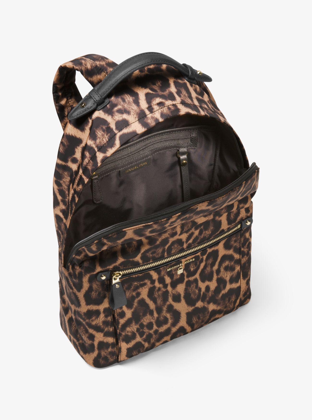 2399ac542003ee Michael Kors Kelsey Leopard Nylon Backpack - Lyst