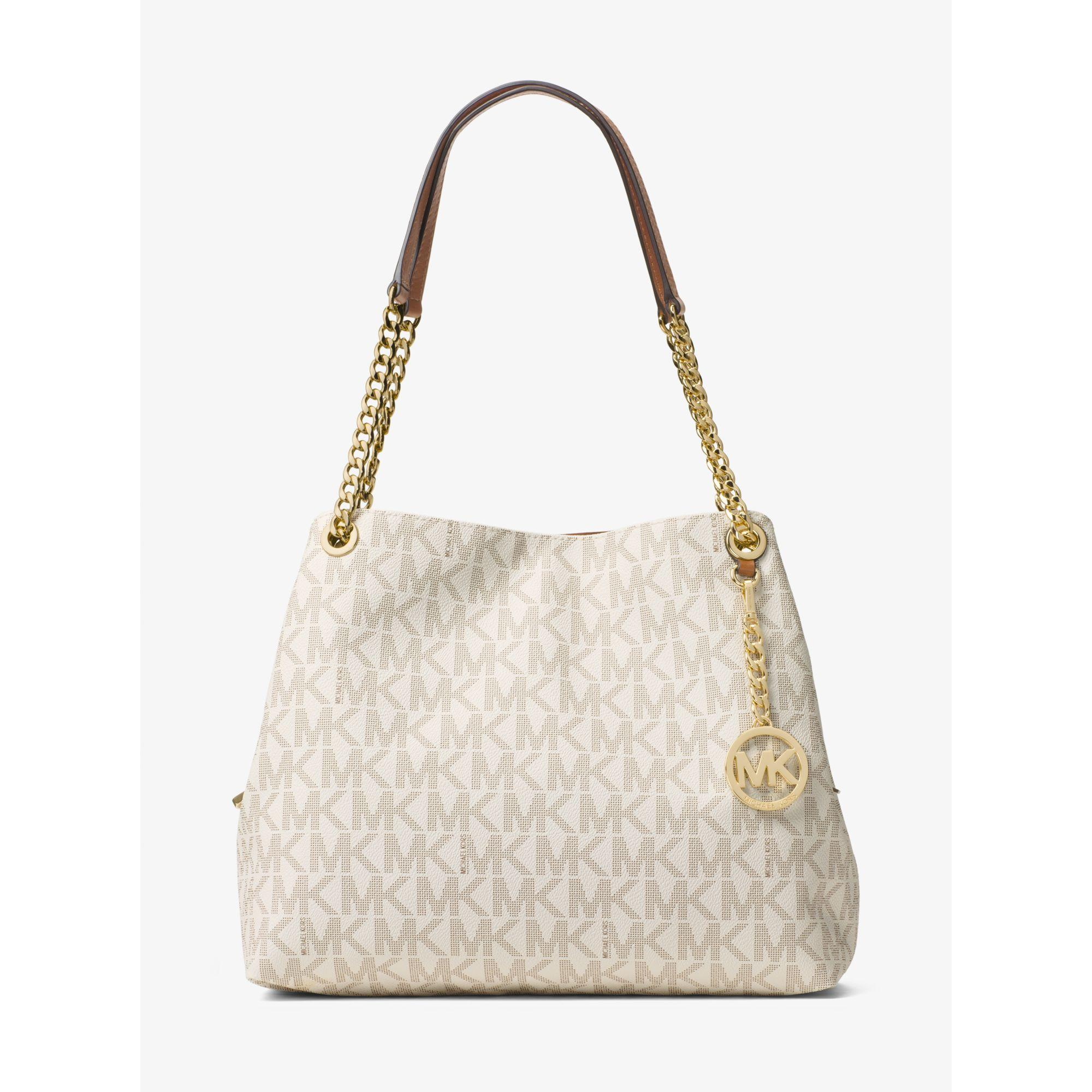 50e40ccefa36 Lyst - Michael Kors Jet Set Large Logo Shoulder Bag in Natural