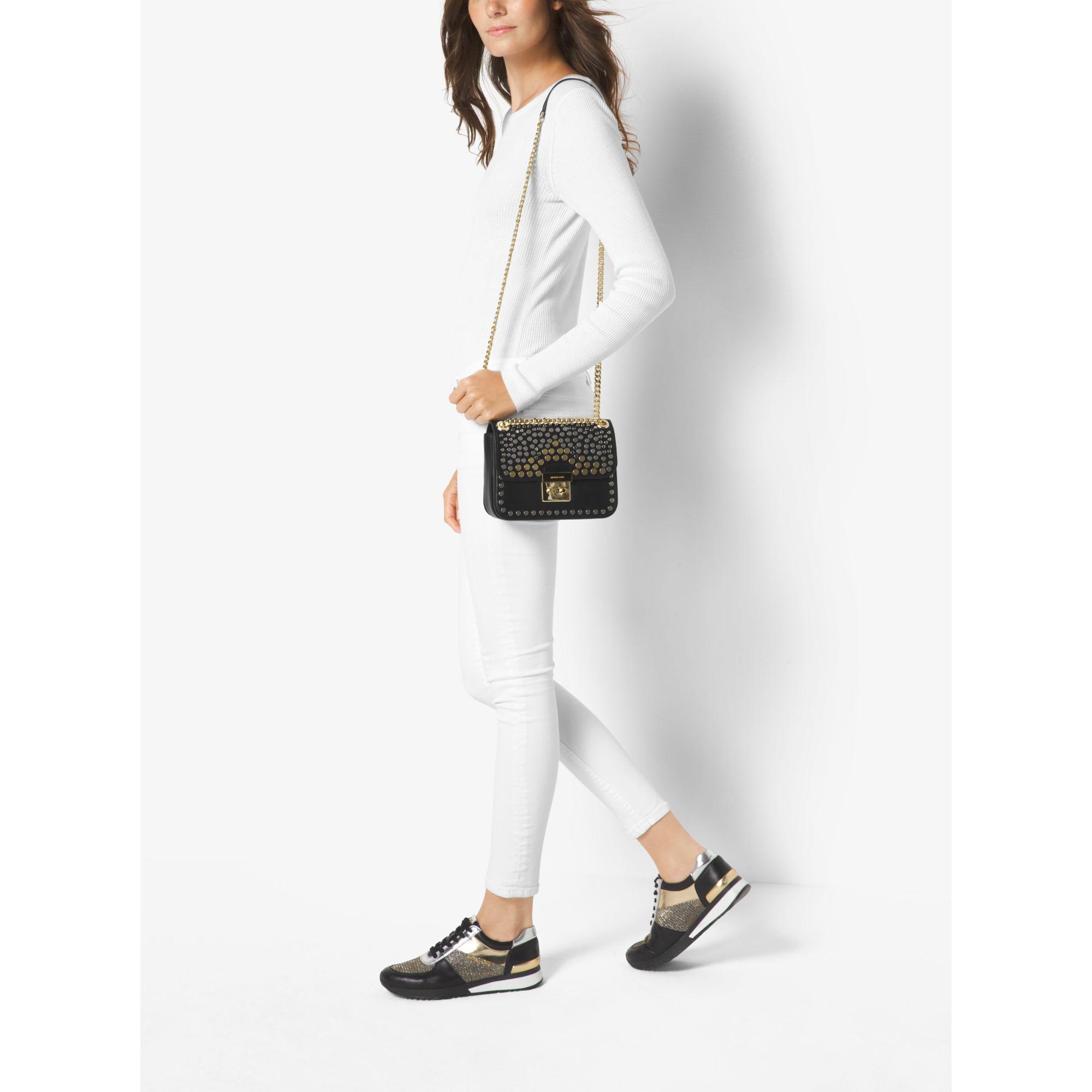 a6f4a8efdf8e Lyst - Michael Kors Sloan Editor Medium Studded Leather Shoulder Bag ...