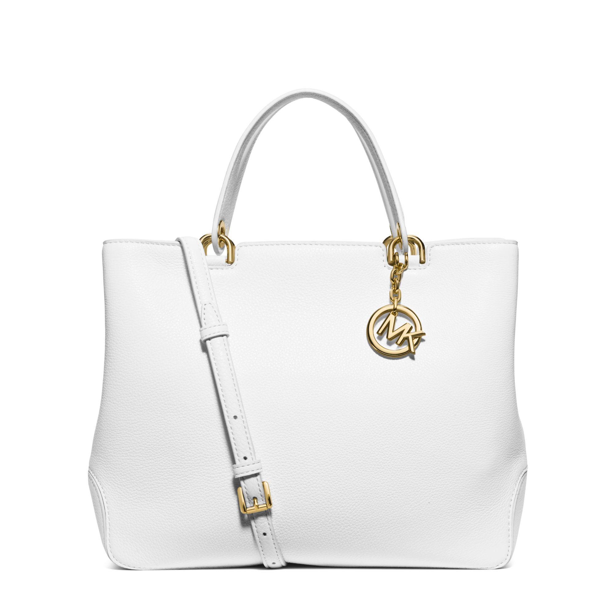 18b01300fa8c83 Michael Kors Anabelle Large Leather Tote in White - Lyst
