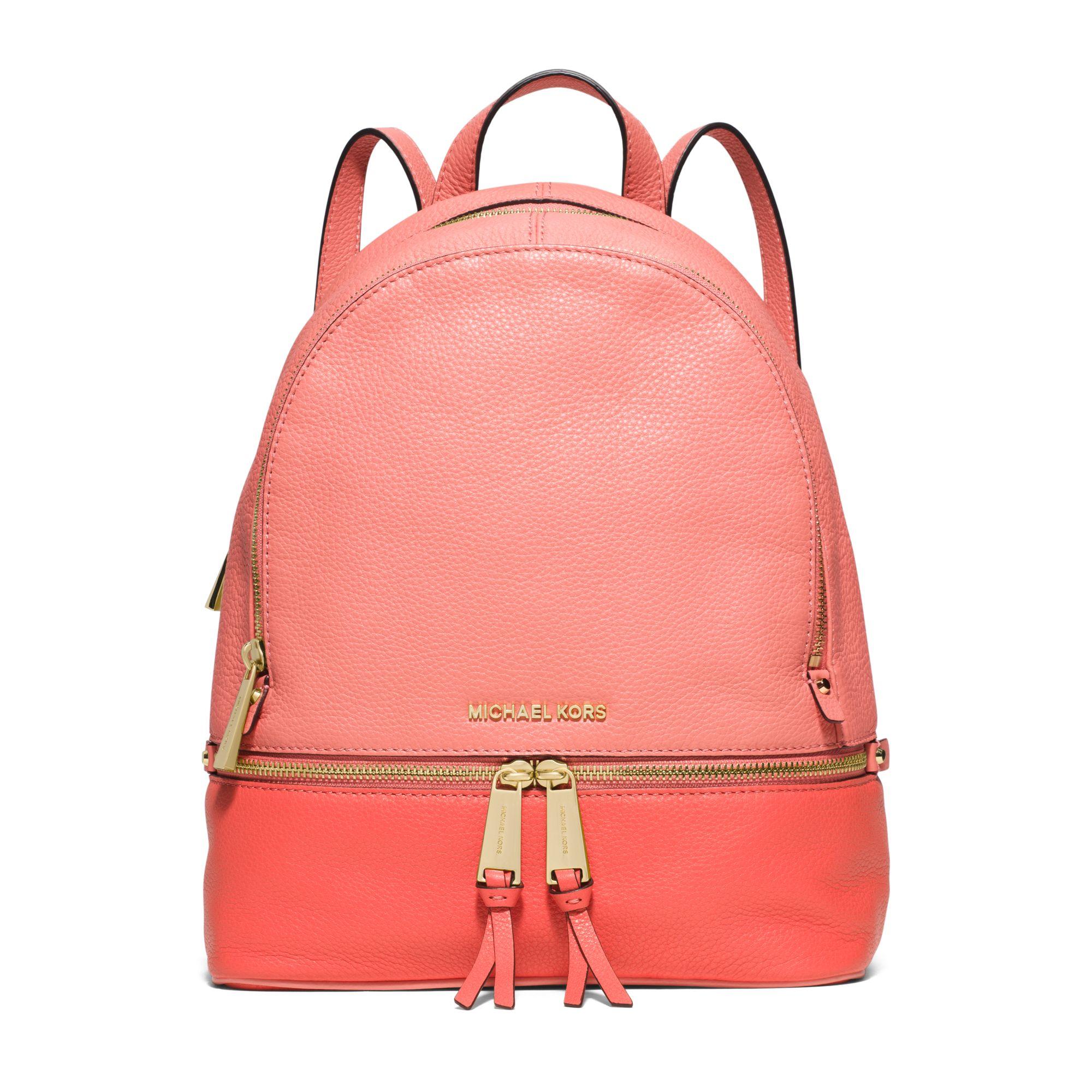 238392dfdeb8 Michael Kors Rhea Medium Color-block Leather Backpack in Pink - Lyst