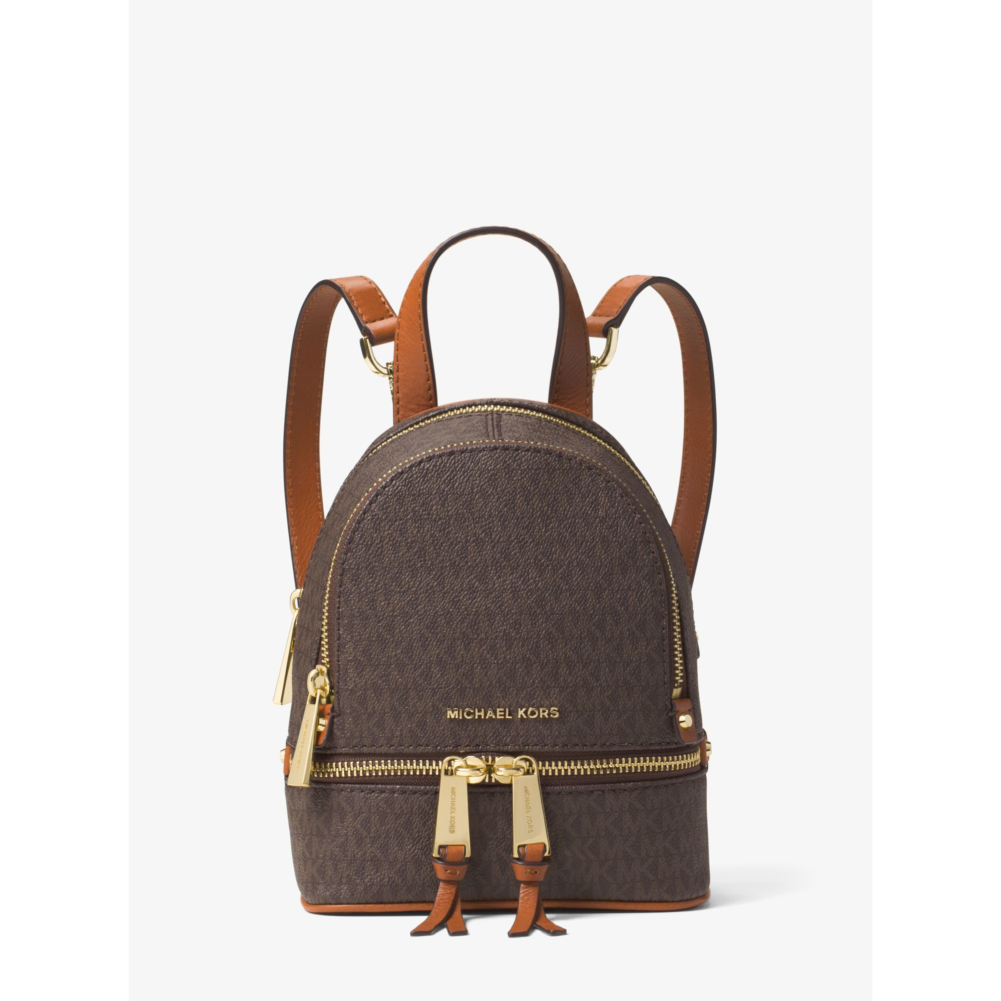 b14519cb104b Michael Kors Rhea Extra-small Logo Backpack in Brown - Lyst