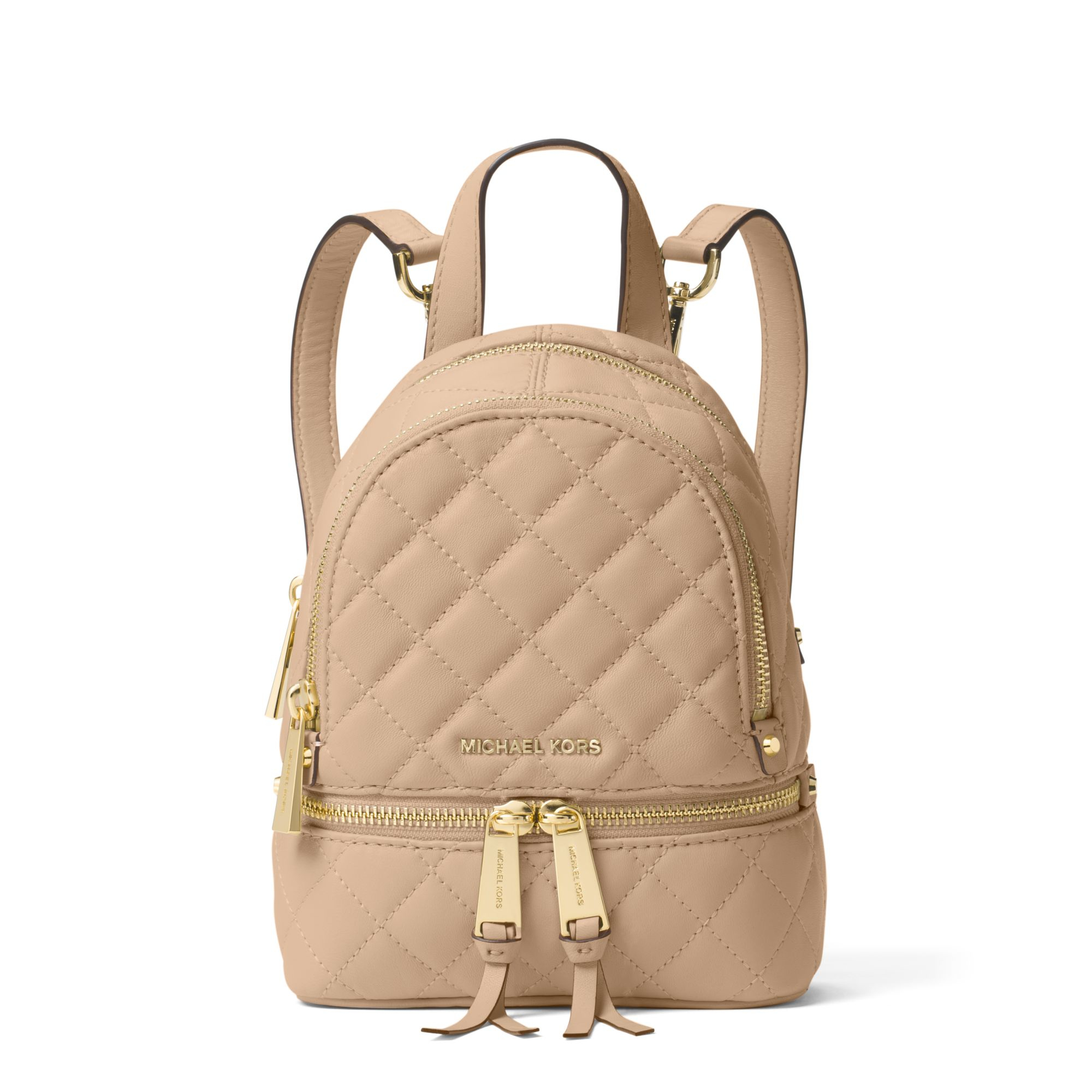 70d2846667af Michael Kors Rhea Extra-small Quilted-leather Backpack in Natural - Lyst